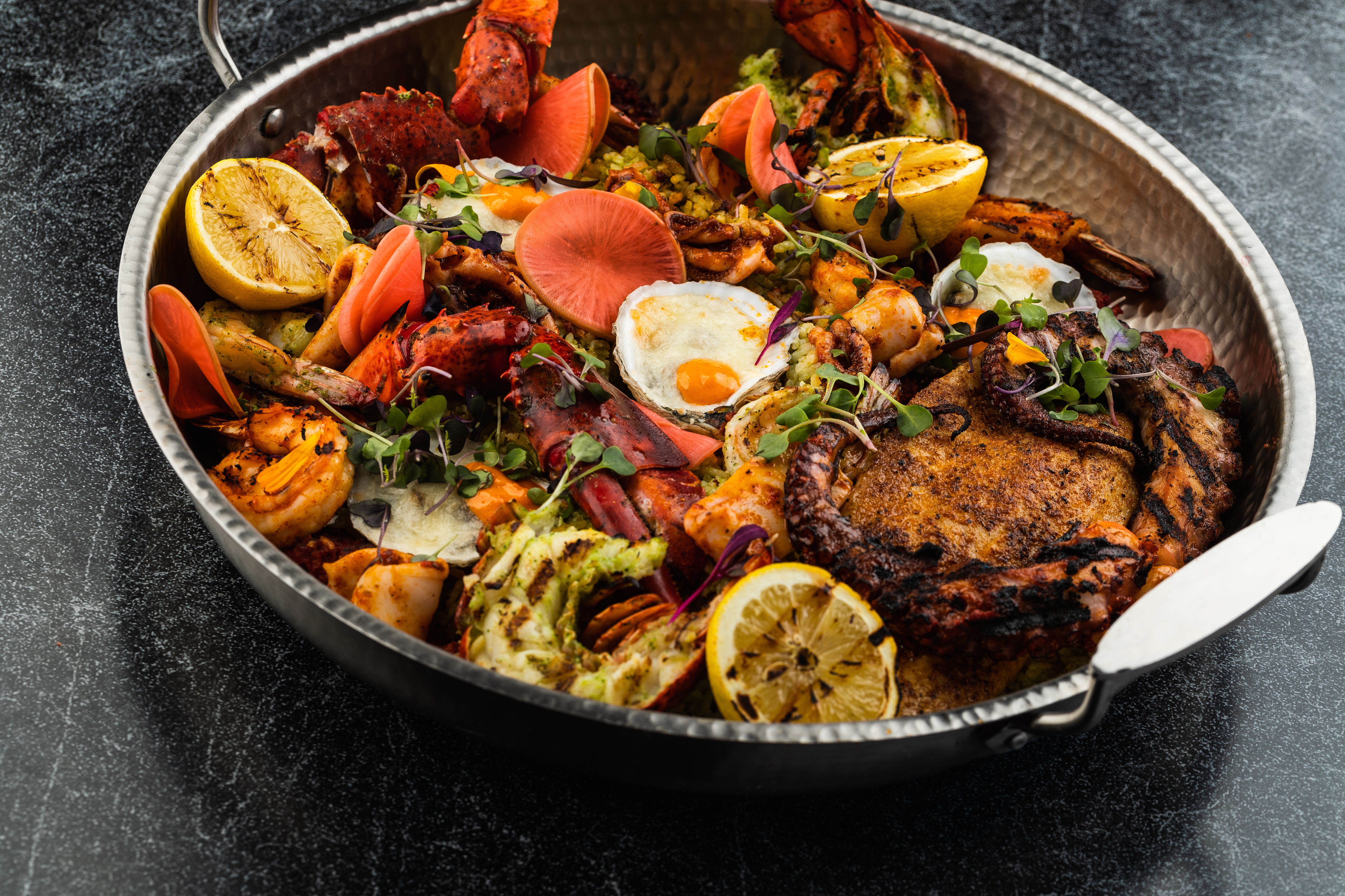 A pan with paella
