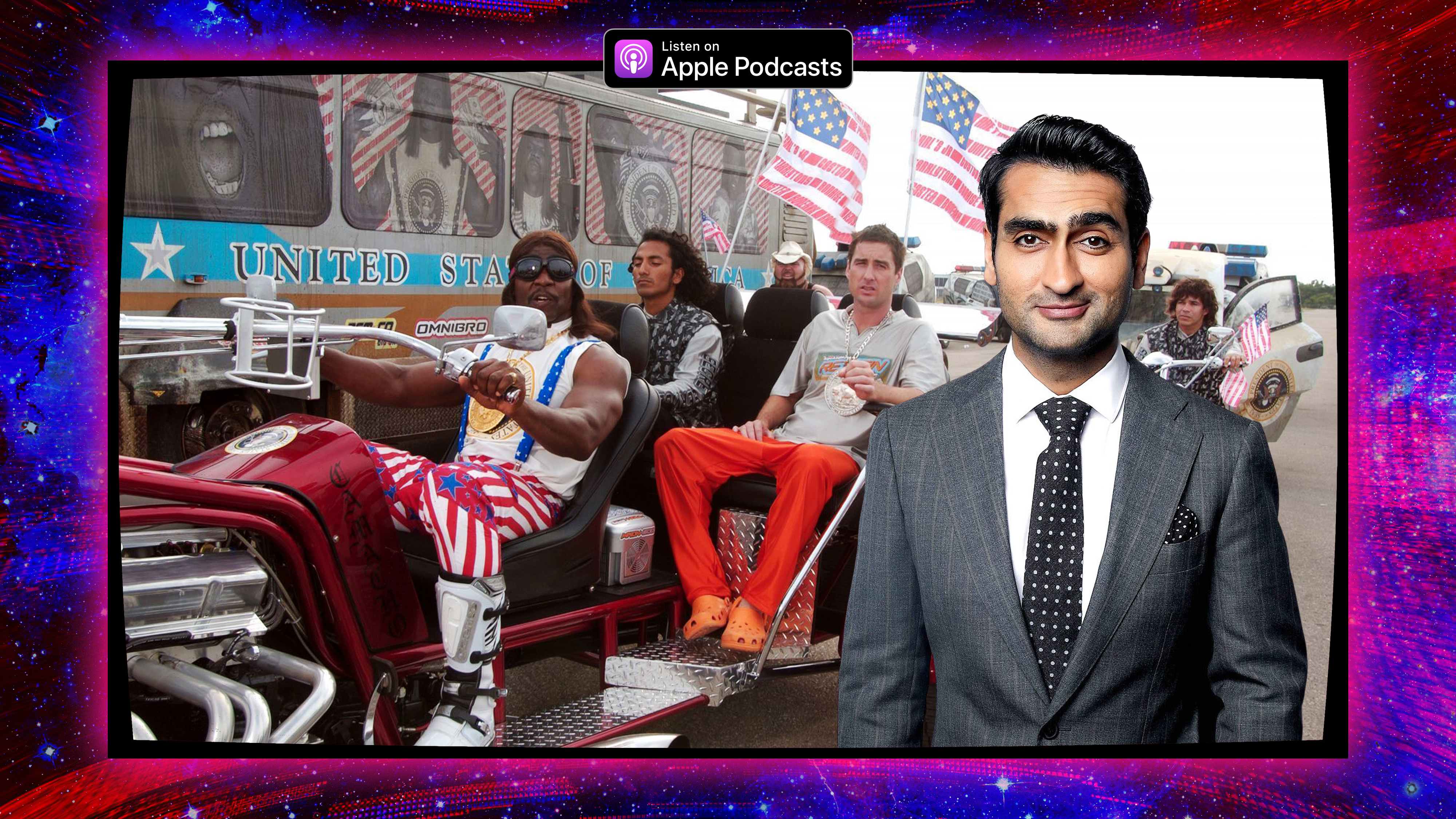 """Graphic featuring a photo of Kumail Nanjiani and a still from the film """"Idiocracy"""""""