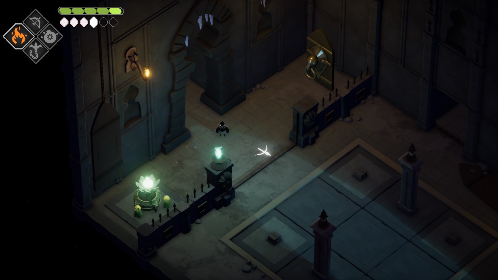 A small crow stands in the entrance to a dimly lit castle