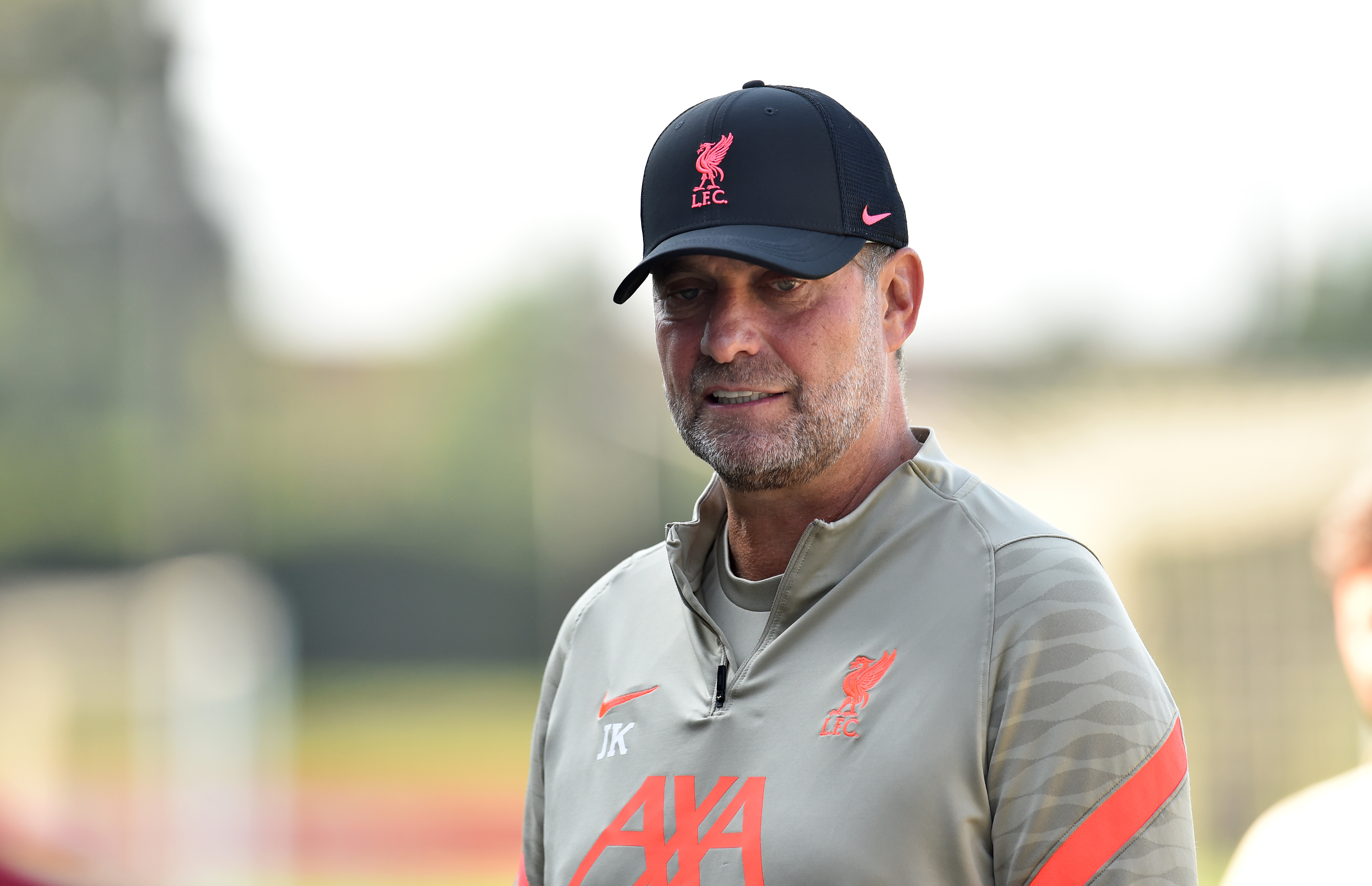 Jurgen Klopp manager of Liverpool during a training session at AXA Training Centre on August 26, 2021 in Kirkby, England.