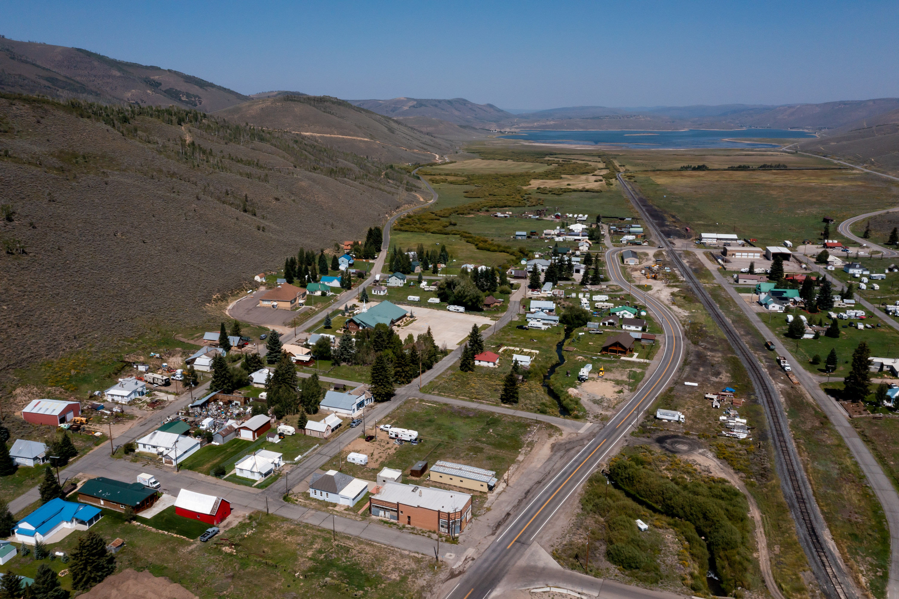 The town of Scofield, with the Scofield Reservoir visible in the background, is pictured on Friday, Aug. 27, 2021. The town's malfunctioning well is back up and pumping after its failure earlier in the month led to water shortages in the town.