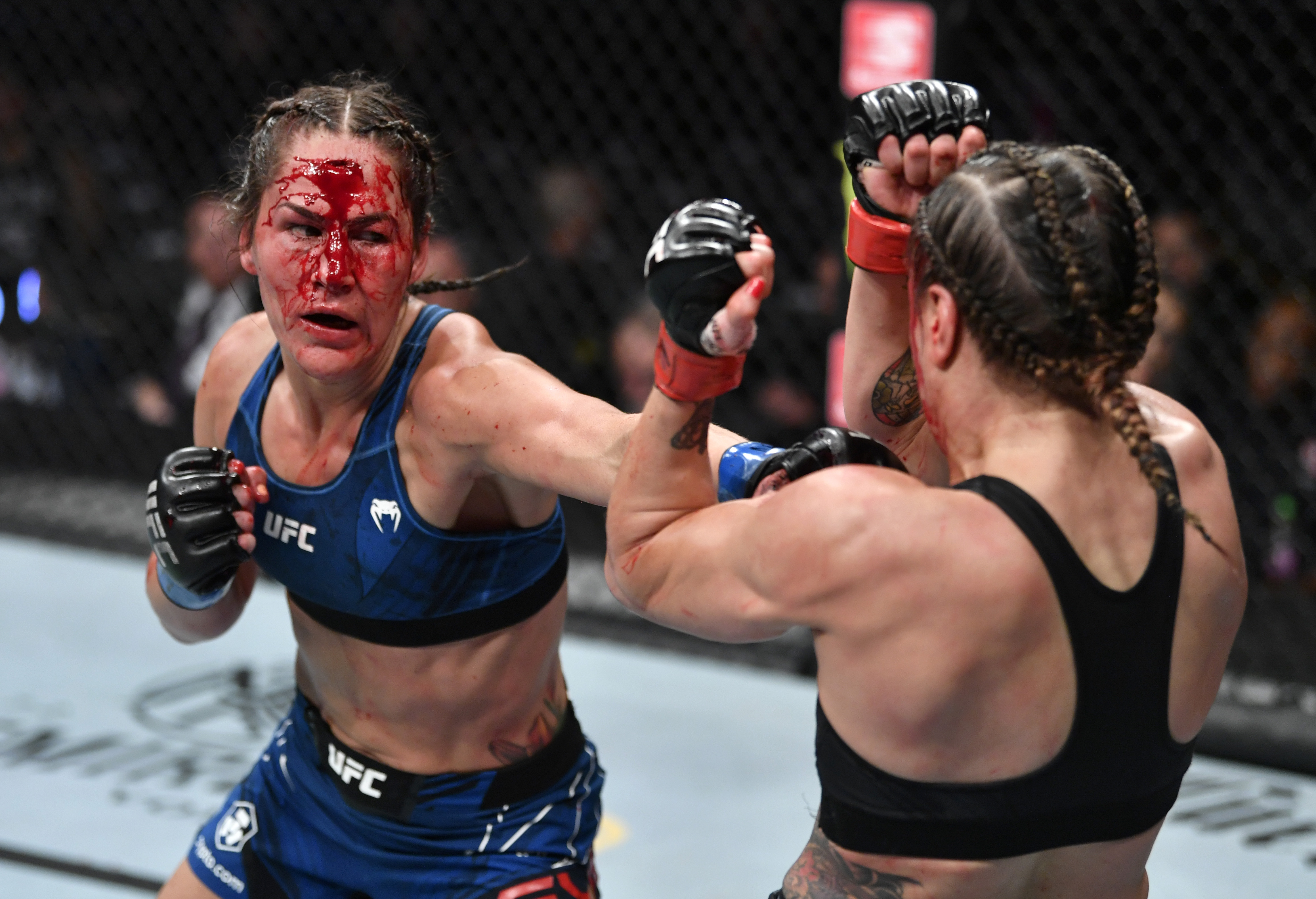 Jessica Eye during her fight against Jennifer Maia at UFC 264.