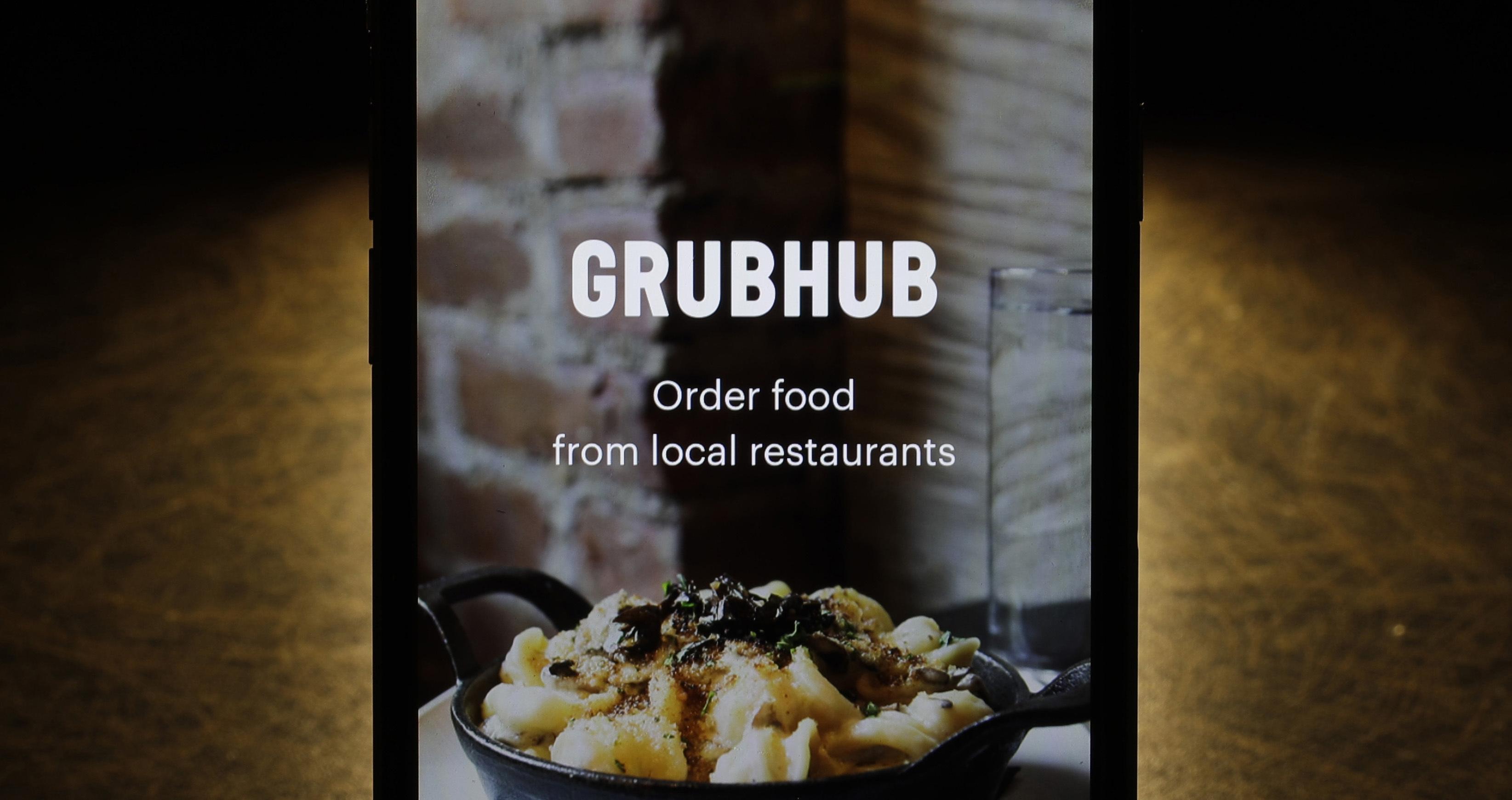 The Grubhub screen on a cellphone.