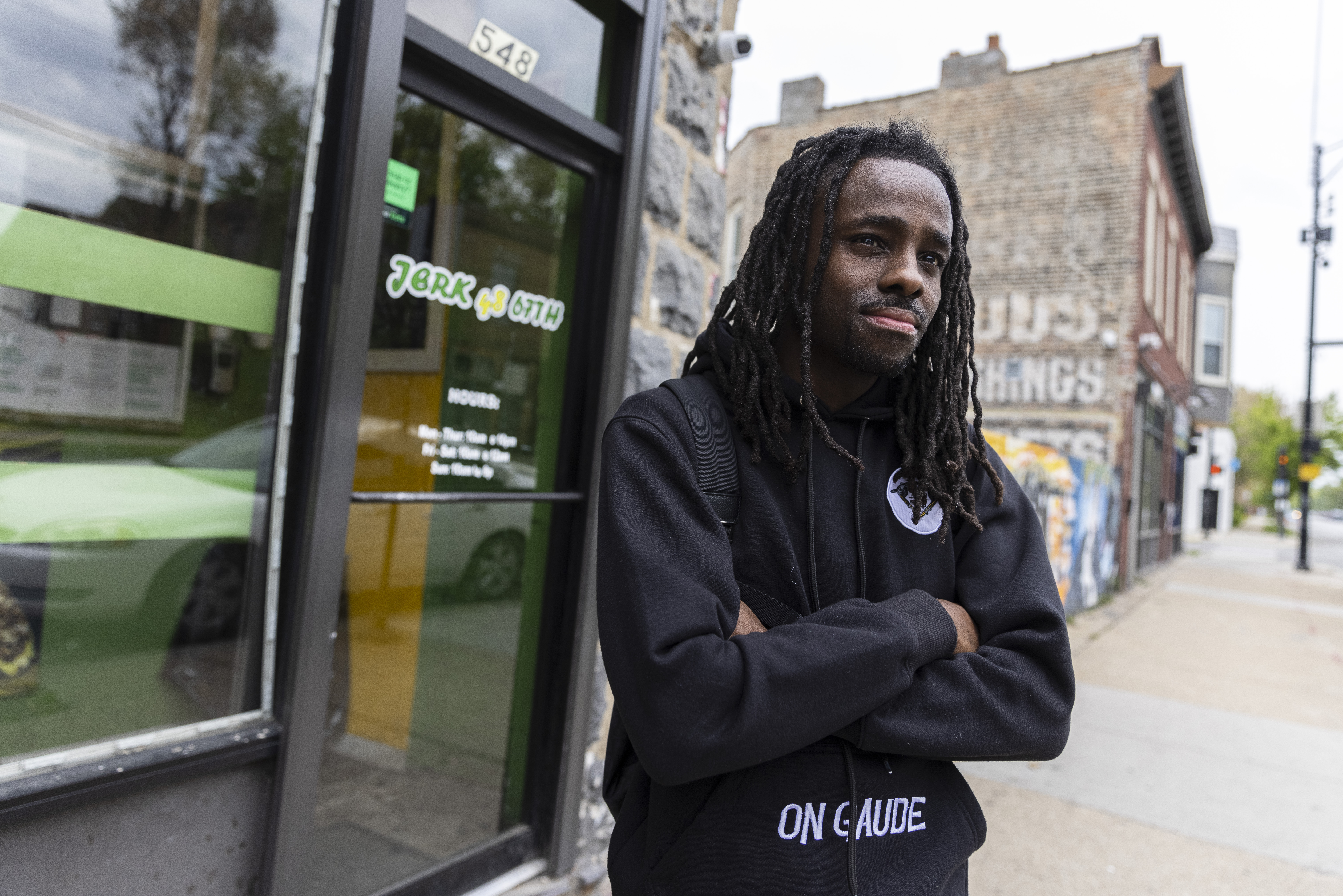 aka Donovan Price poses for a portrait at Jerk 48 a restaurant used frequently in his skits at 548 E 67th St in West Woodlawn, Monday, May 17, 2021.   Anthony Vazquez/Sun-Times