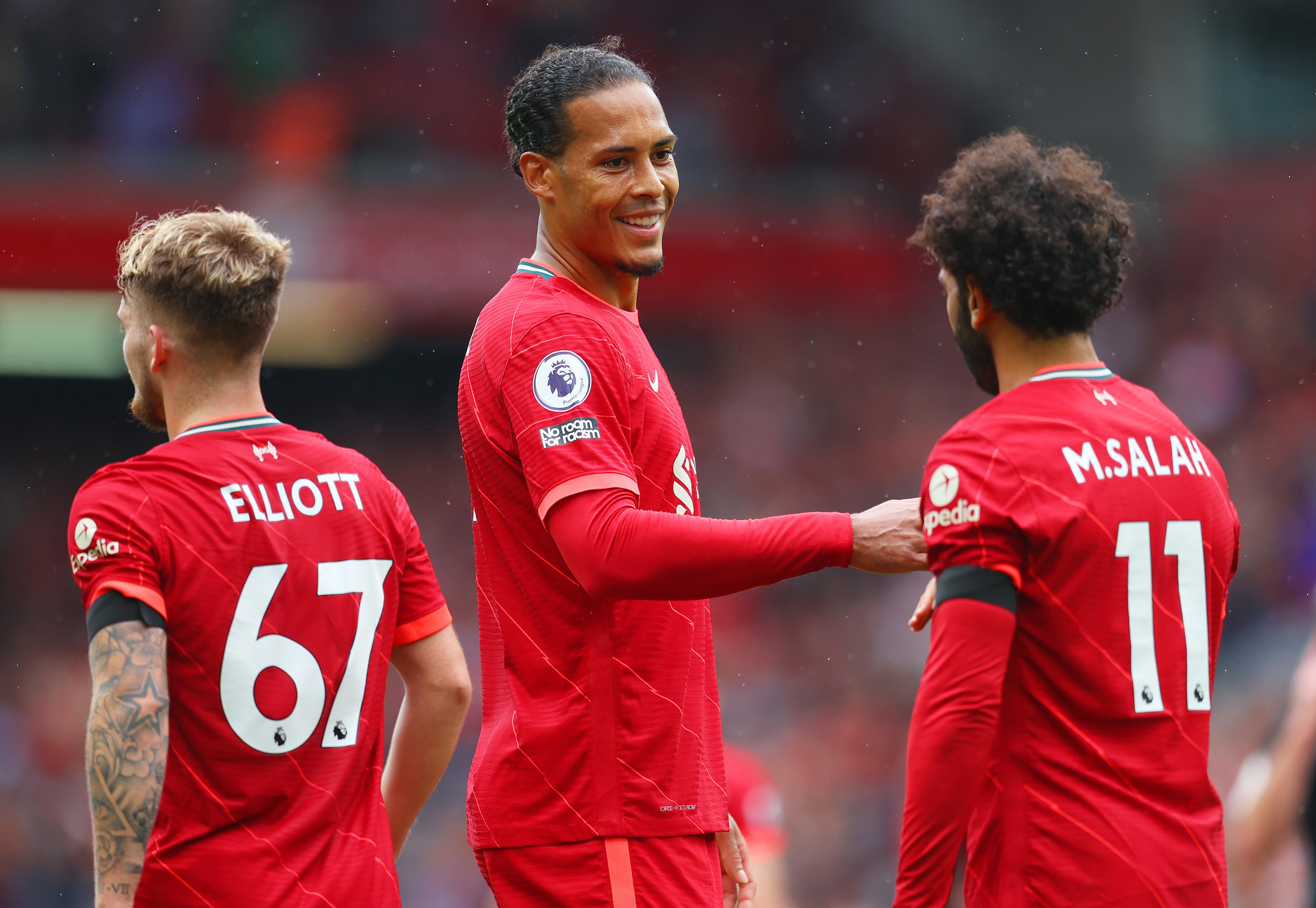 Mo Salah of Liverpool celebrates a goal with Virgil van Dijk - Liverpool - Premier League