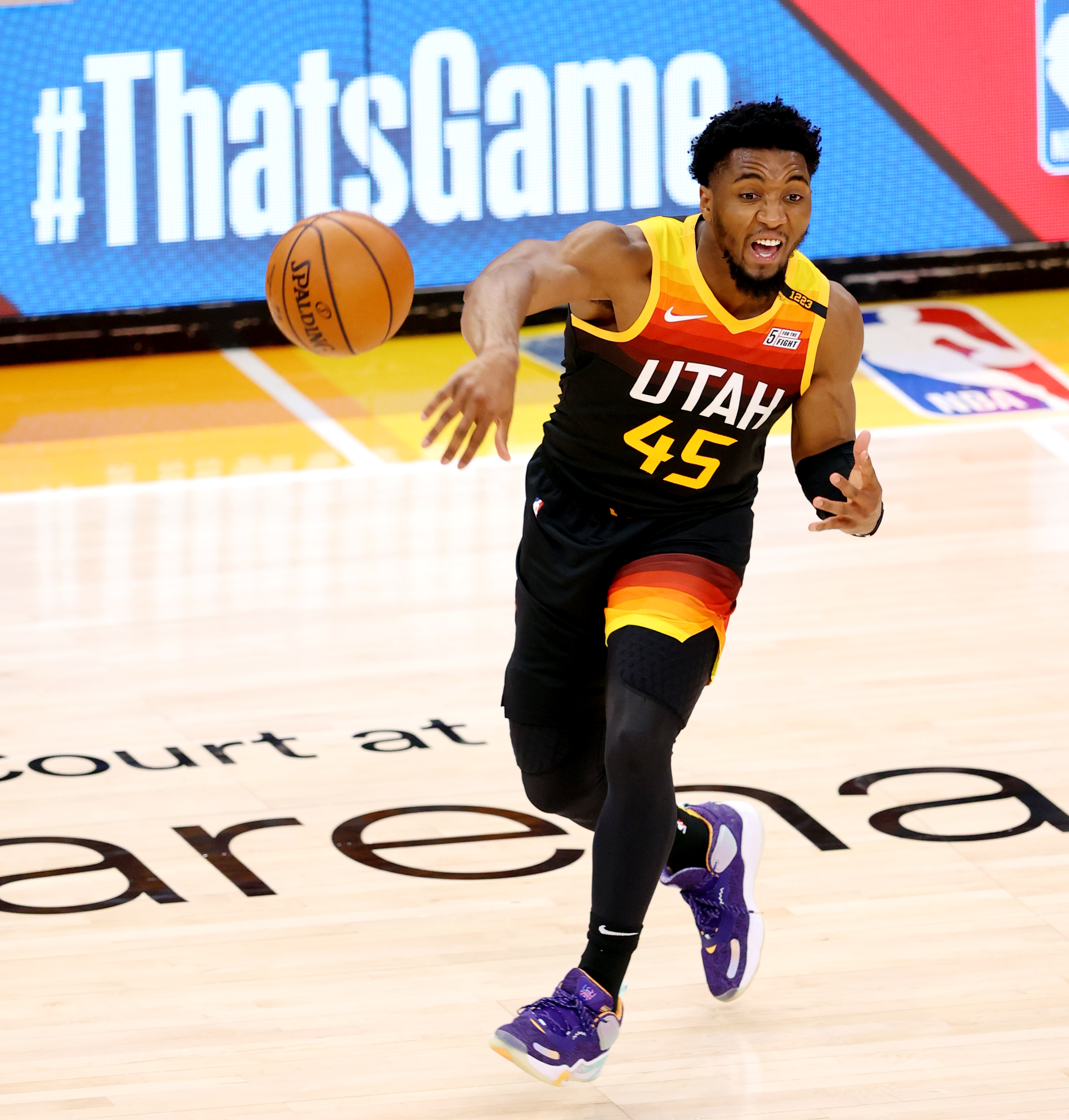 Utah Jazz guard Donovan Mitchell passes the ball in Game 5 against the Memphis Grizzlies.
