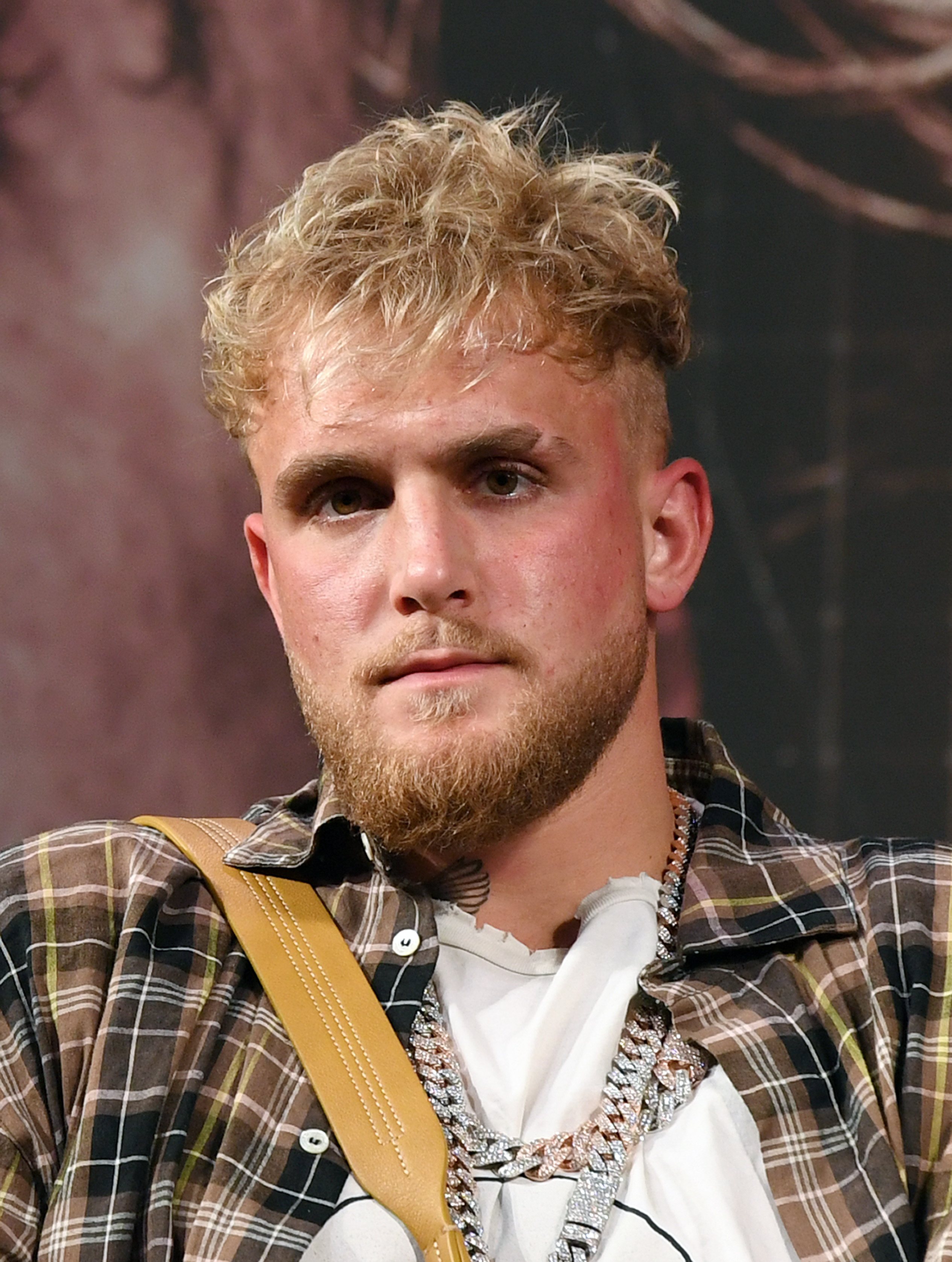 Jake Paul attends a news conference for Triller Fight Club's inaugural 2021 boxing event at The Venetian Las Vegas on March 26, 2021 in Las Vegas, Nevada. Paul will face Ben Askren in the main event that will take place on April 17, 2021, at Mercedes-Benz Stadium in Atlanta.