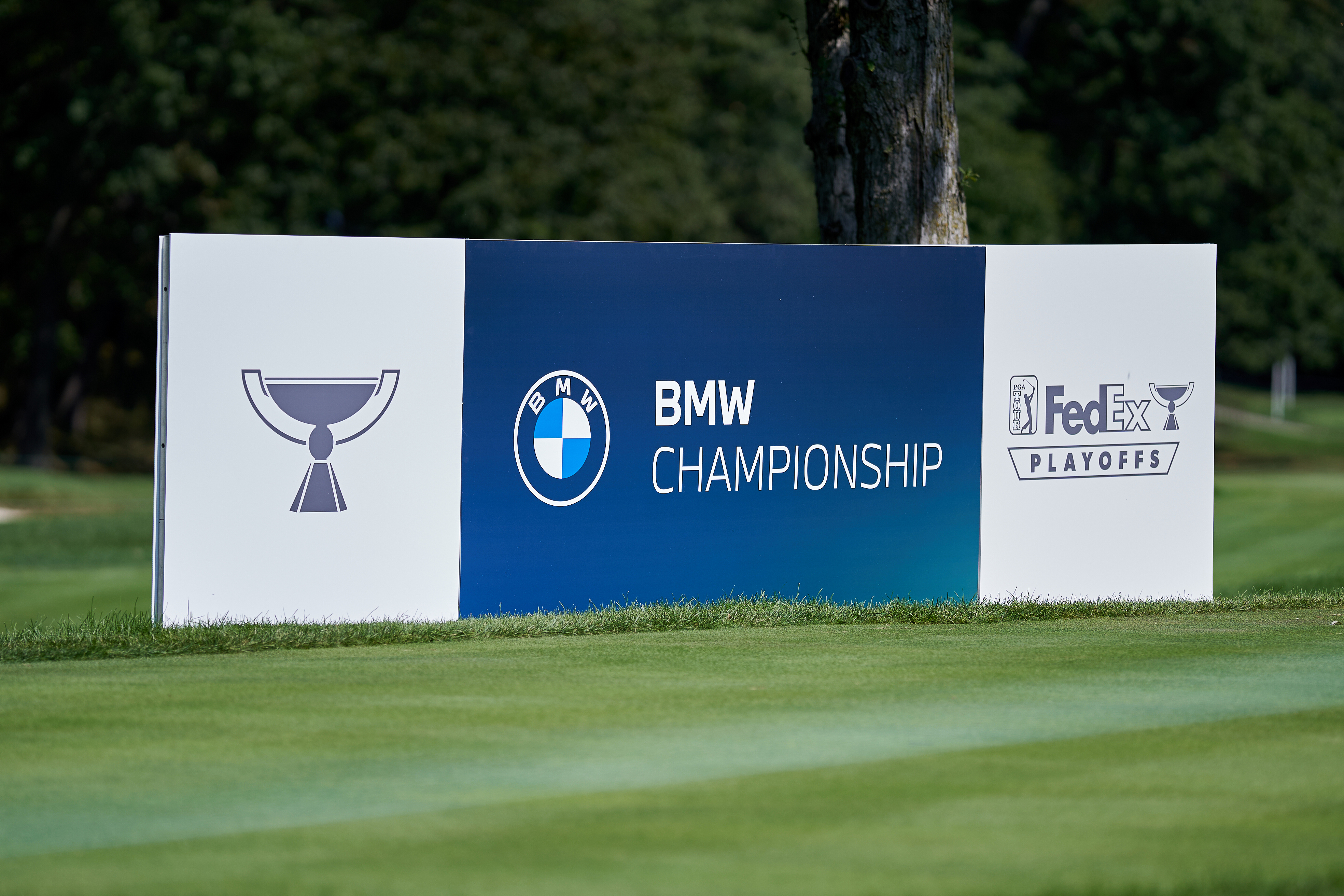 A detail view of the BMW Championship logo is seen on a field board during the first round of the BMW Championship on the North Course at Olympia Fields Country Club on August 27, 2020 in Olympia Fields, Illinois.