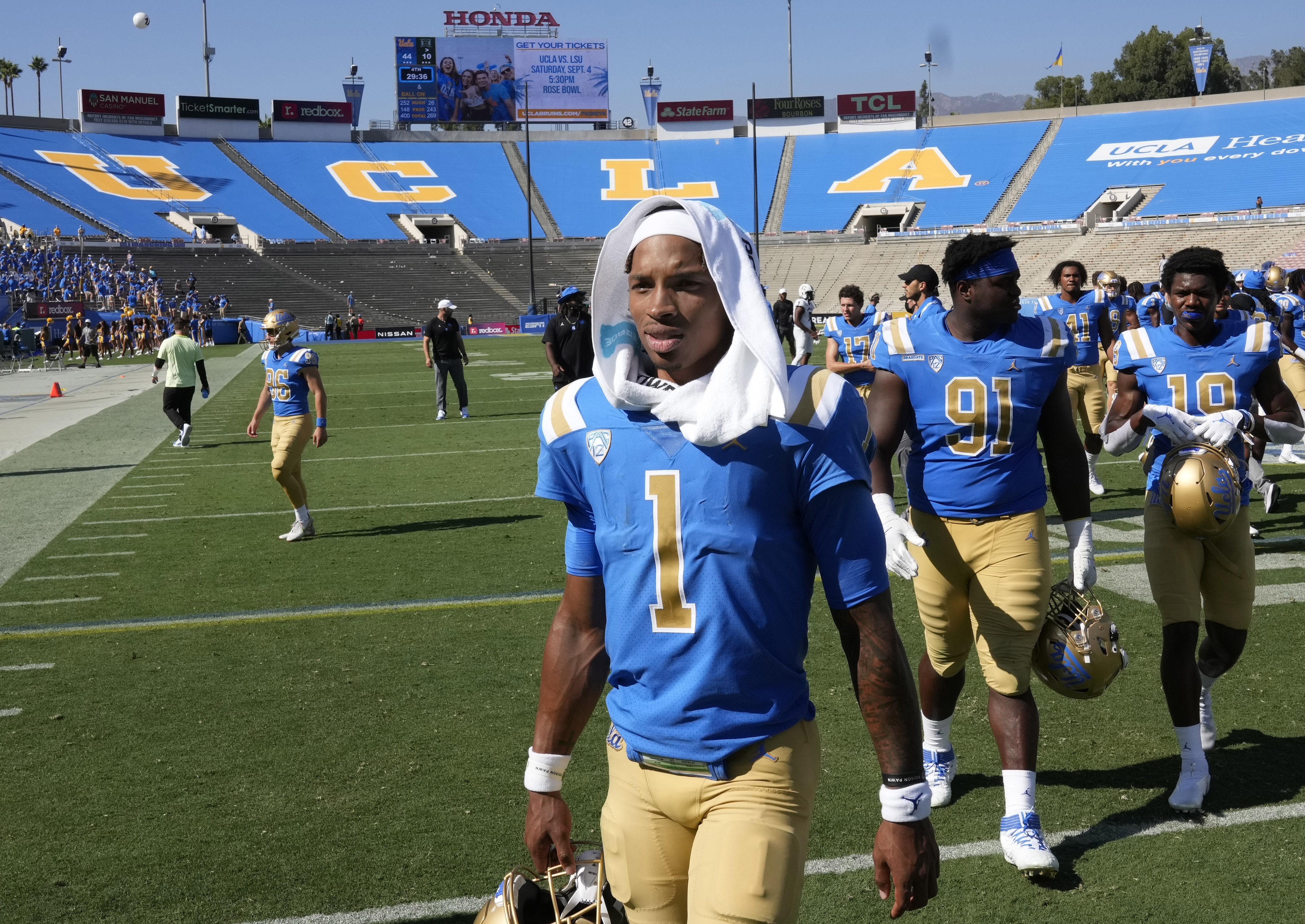 UCLA Bruins defeated the Hawaii Warriors 44-10 during a NCAA Football game at the Rose Bowl in Pasadena.