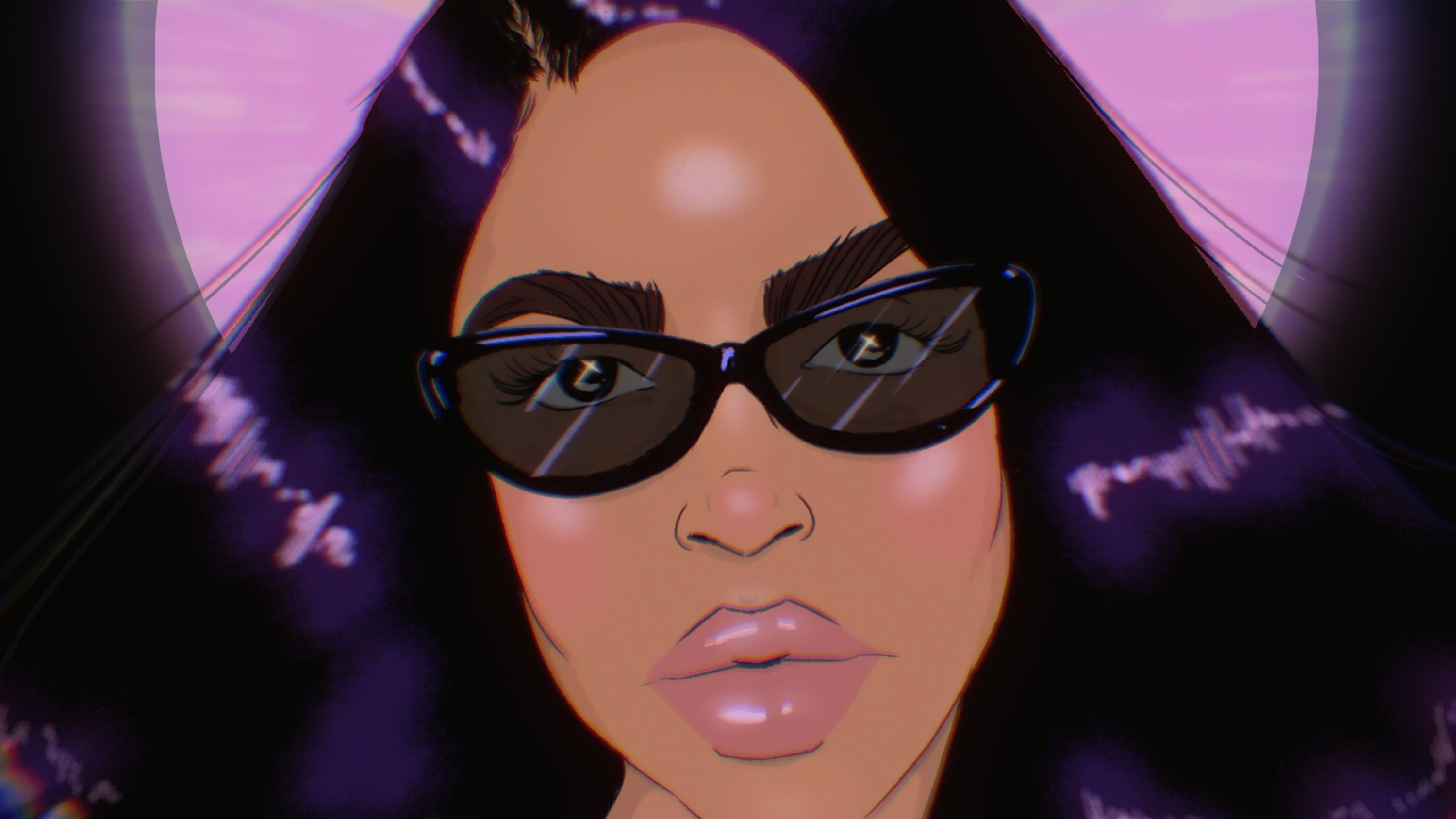 An illustration of the face of singer Aaliyah wearing sunglasses.