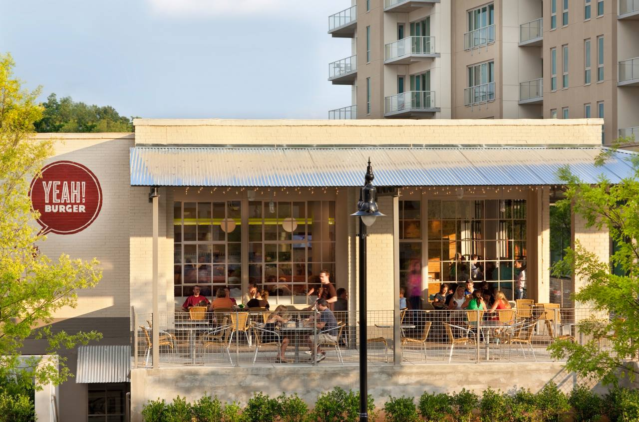 A shot of the patio at Yeah Burger at Westside Provisions District