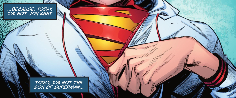 Jon Kent zips up his windbreaker in Superman: Son of Kal-El #2 (2021).