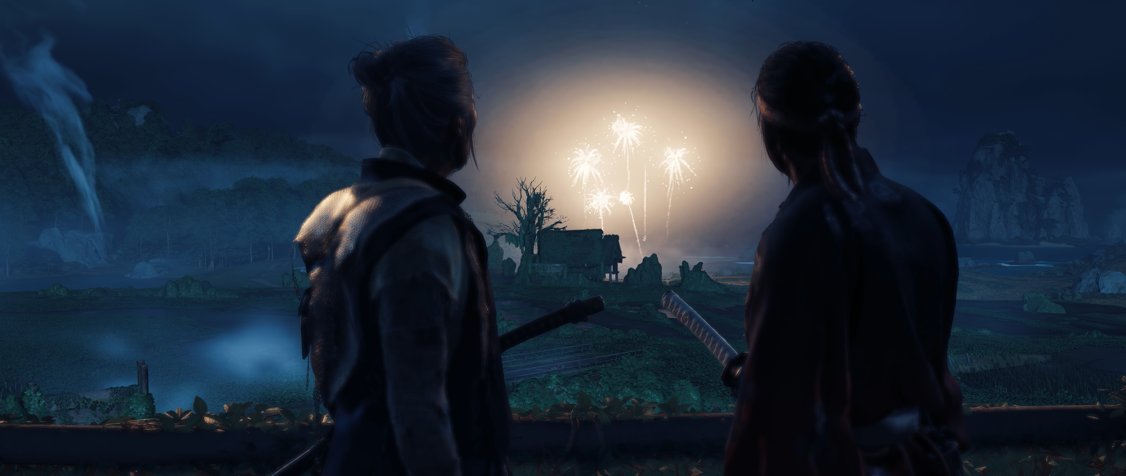 two silhouetted characters watch a fireworks volley in the distance, at night, in Ghost of Tsushima