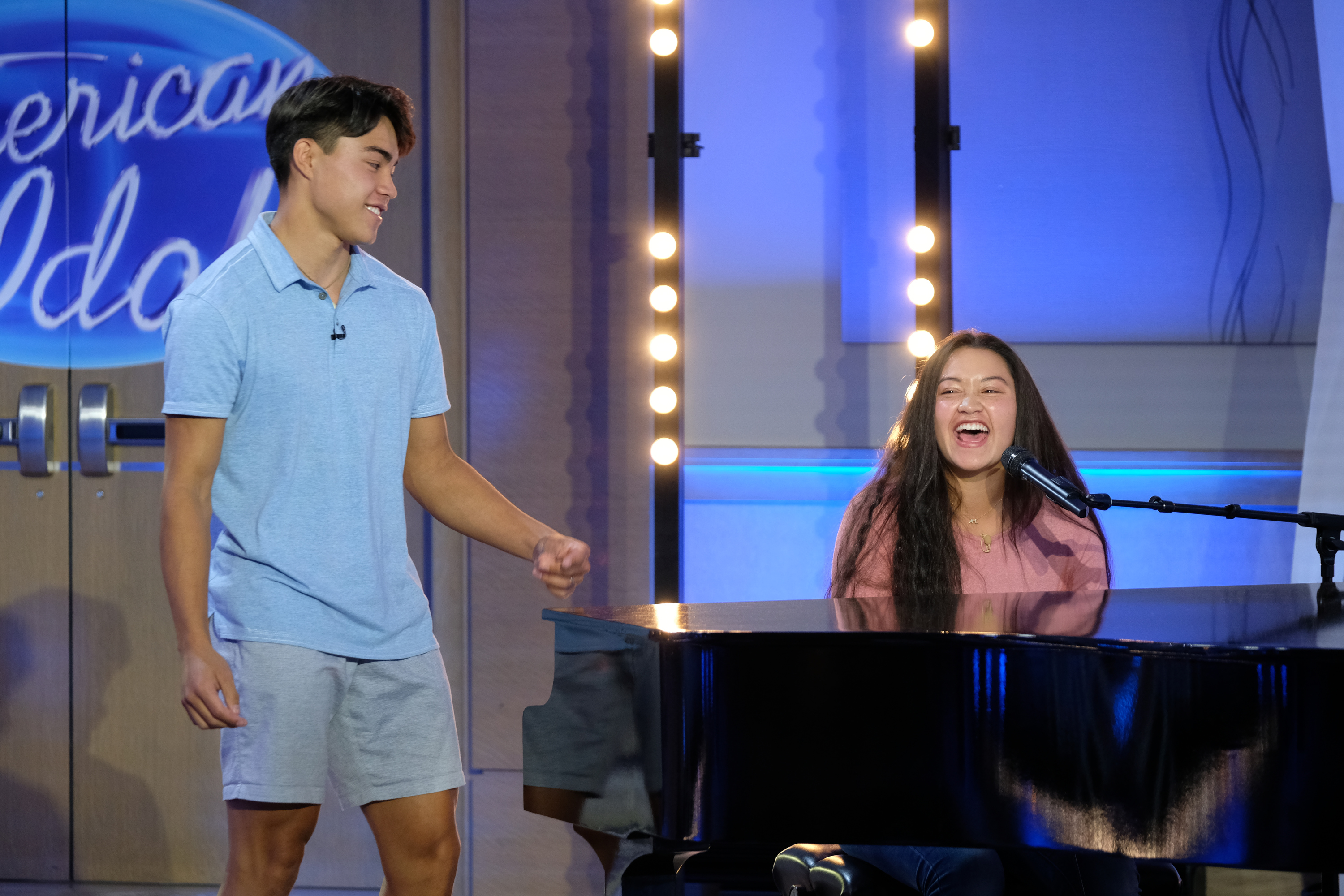 """Ammon and Liahona Olayan audition for """"American Idol"""" judges Katy Perry, Luke Bryan and Lionel Richie."""