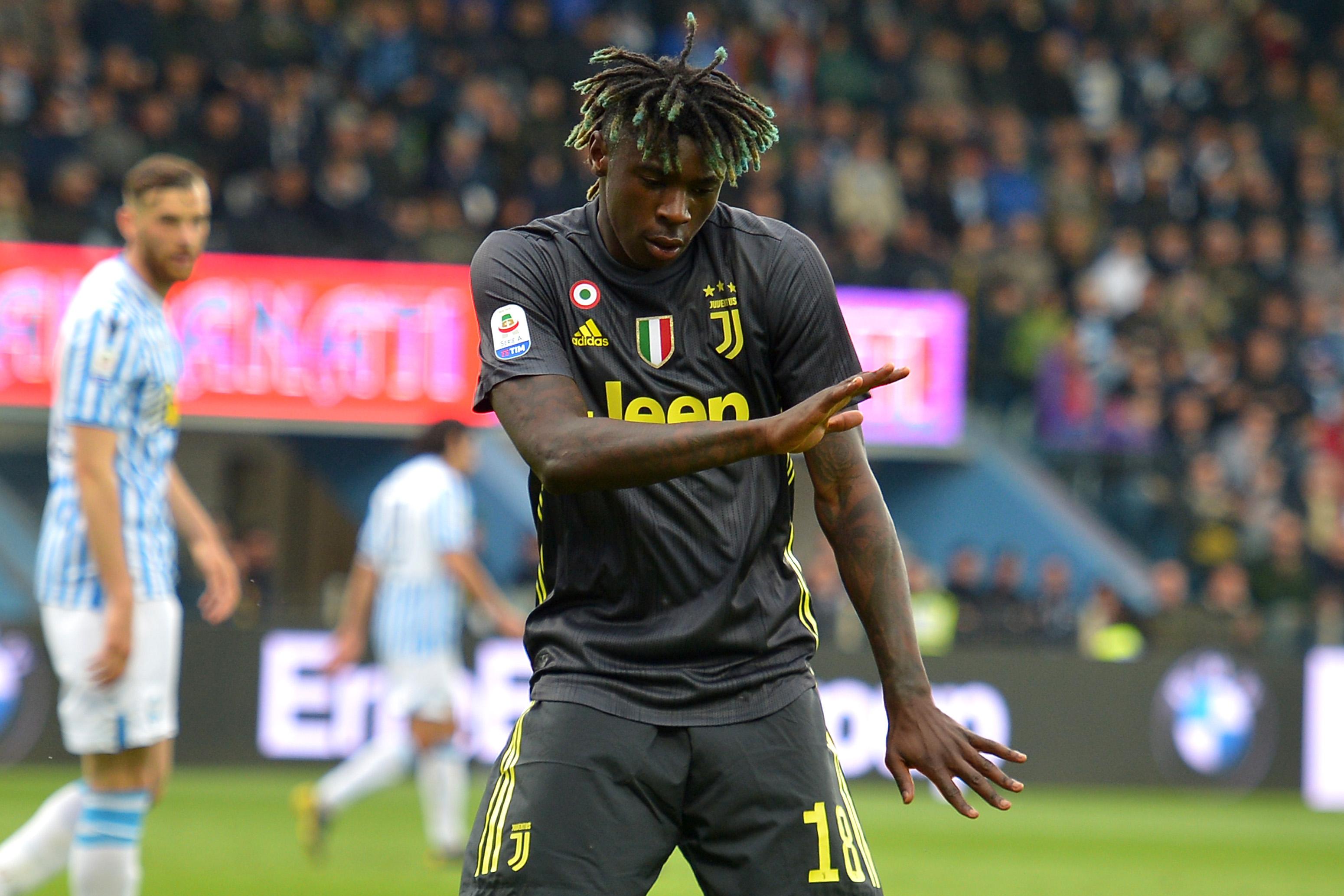 Moise Kean of Juventus celebrates after scoring the goal of...