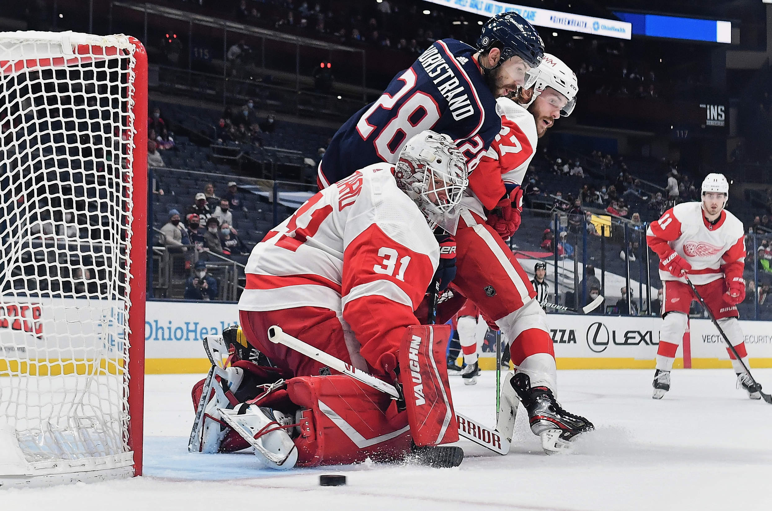 Goaltender Calvin Pickard #31 of the Detroit Red Wings defends the net against the Columbus Blue Jackets at Nationwide Arena on May 8, 2021 in Columbus, Ohio.