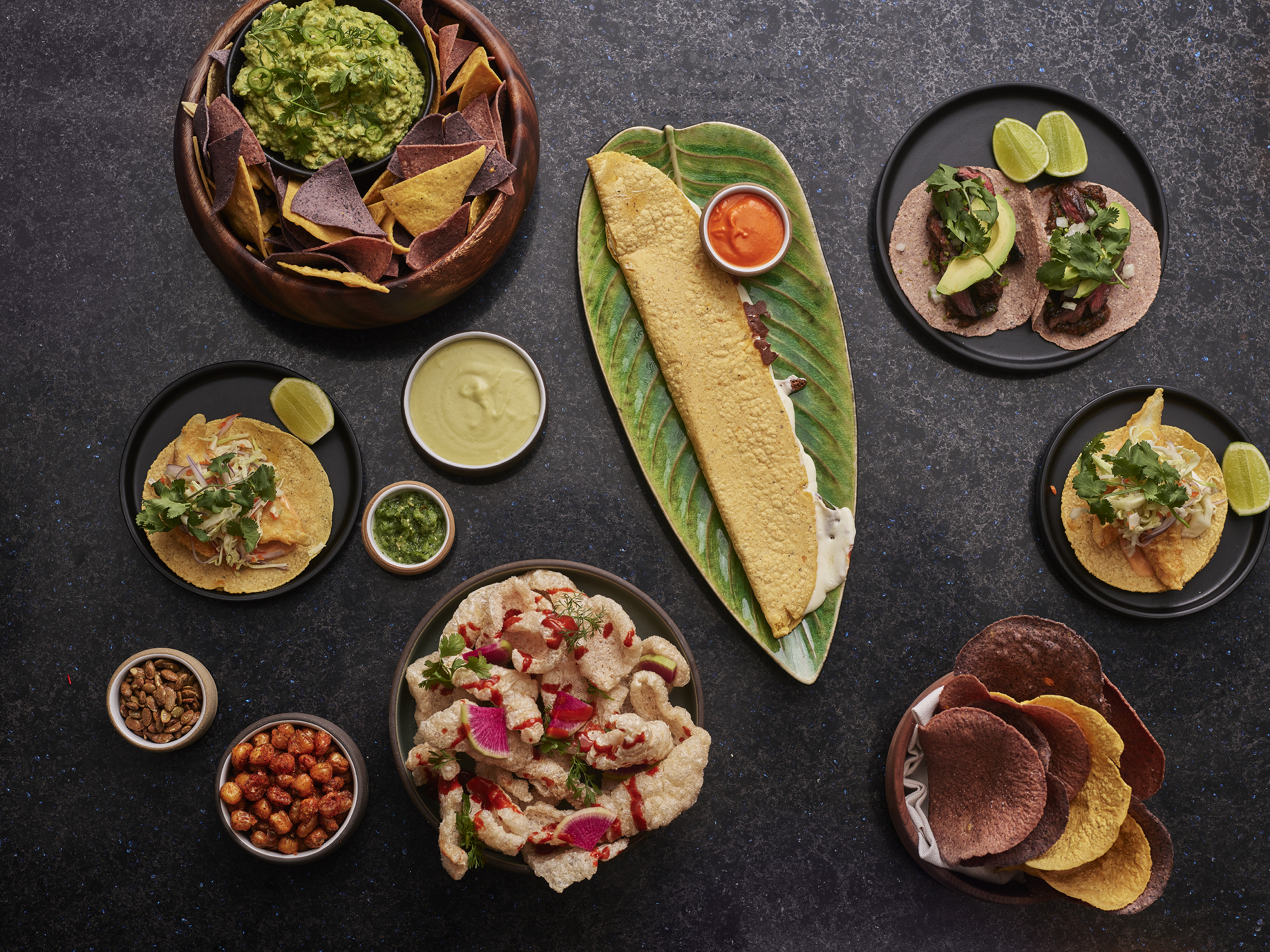 An overhead array of Mexican dishes