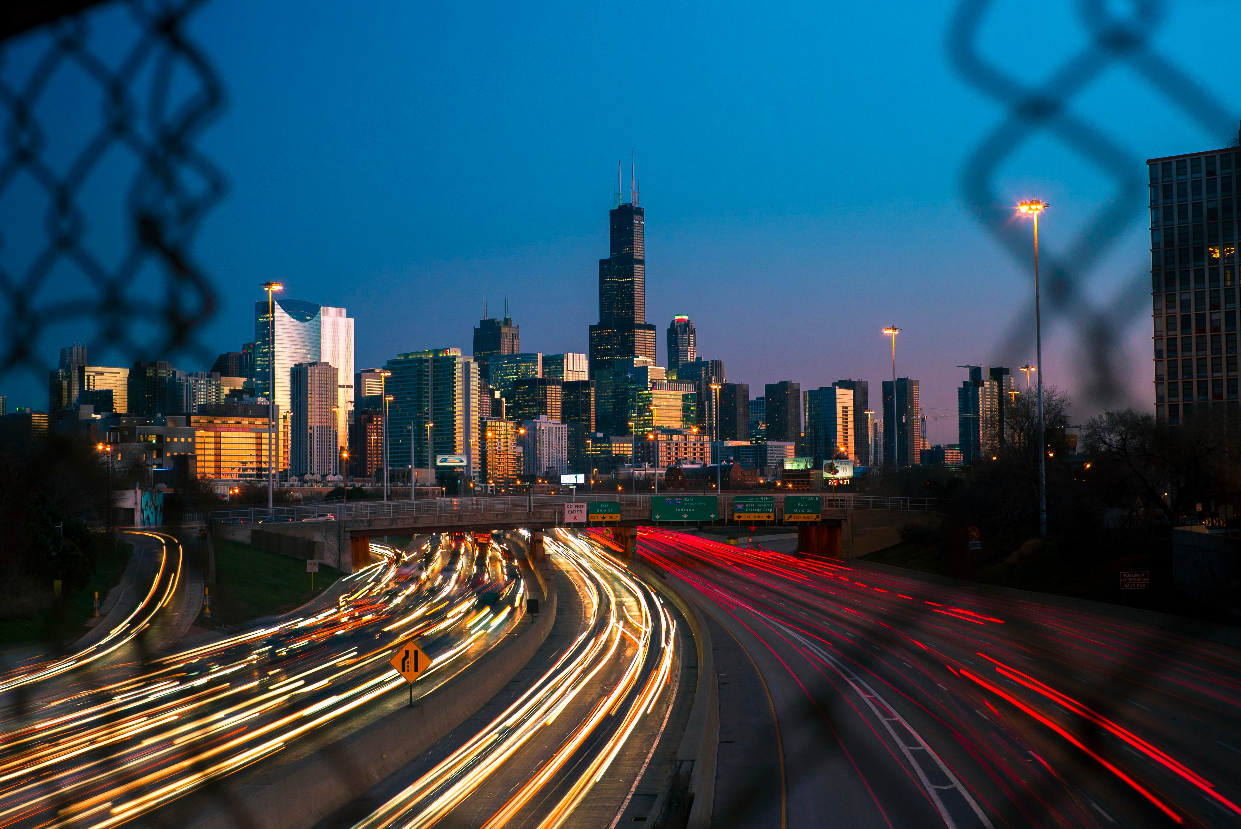 A time-elapsed photo from a bridge overlooking the Kennedy Expressway in Chicago at night.
