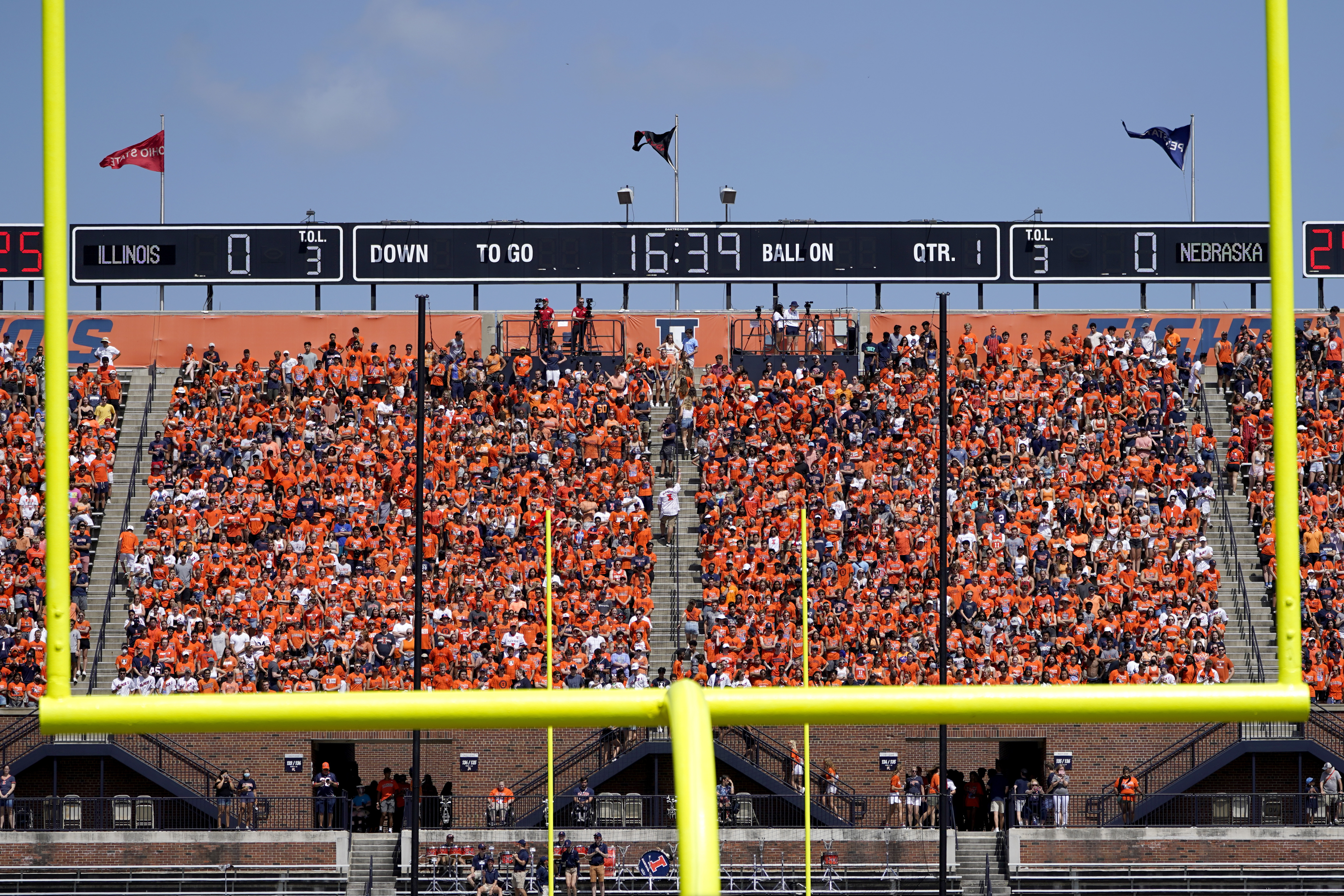 Fans return to Memorial Stadium during game between Illinois and Nebraska Saturday, Aug. 28, 2021, in Champaign, Ill.