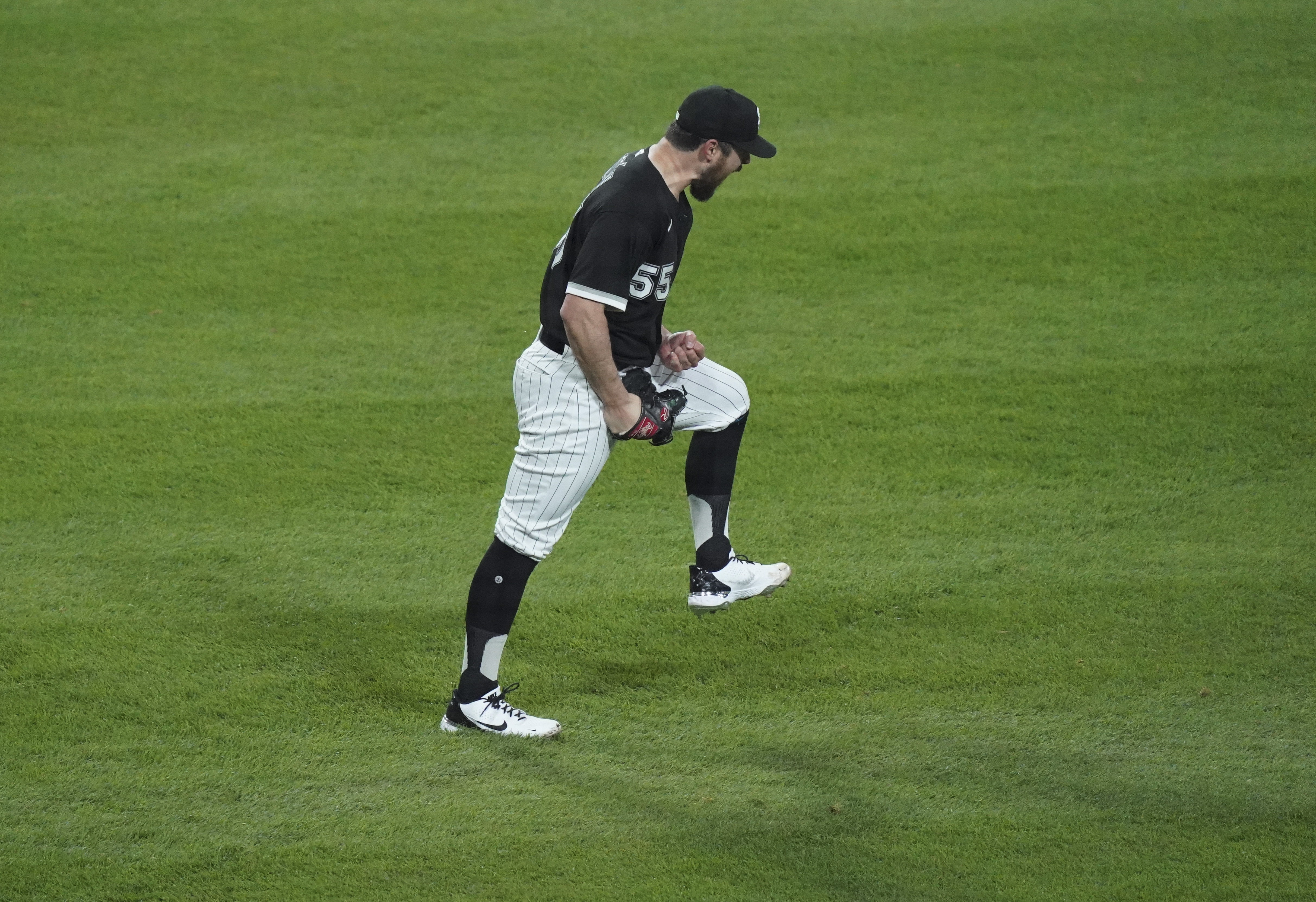 Carlos Rodon after the final out of his early-season no-hitter.