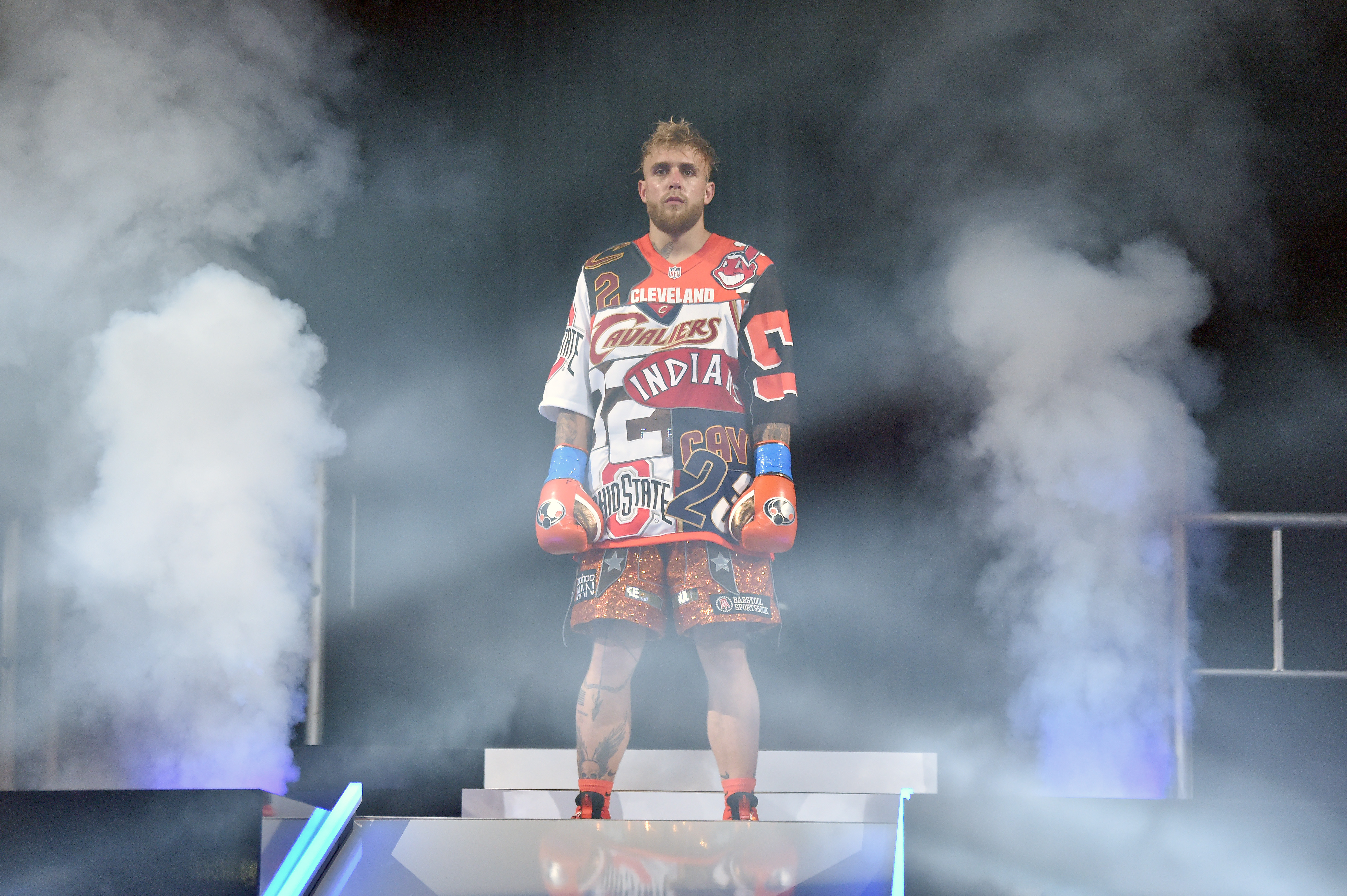 Jake Paul walks towards the ring ahead of his boxing match against Tyron Woodley.