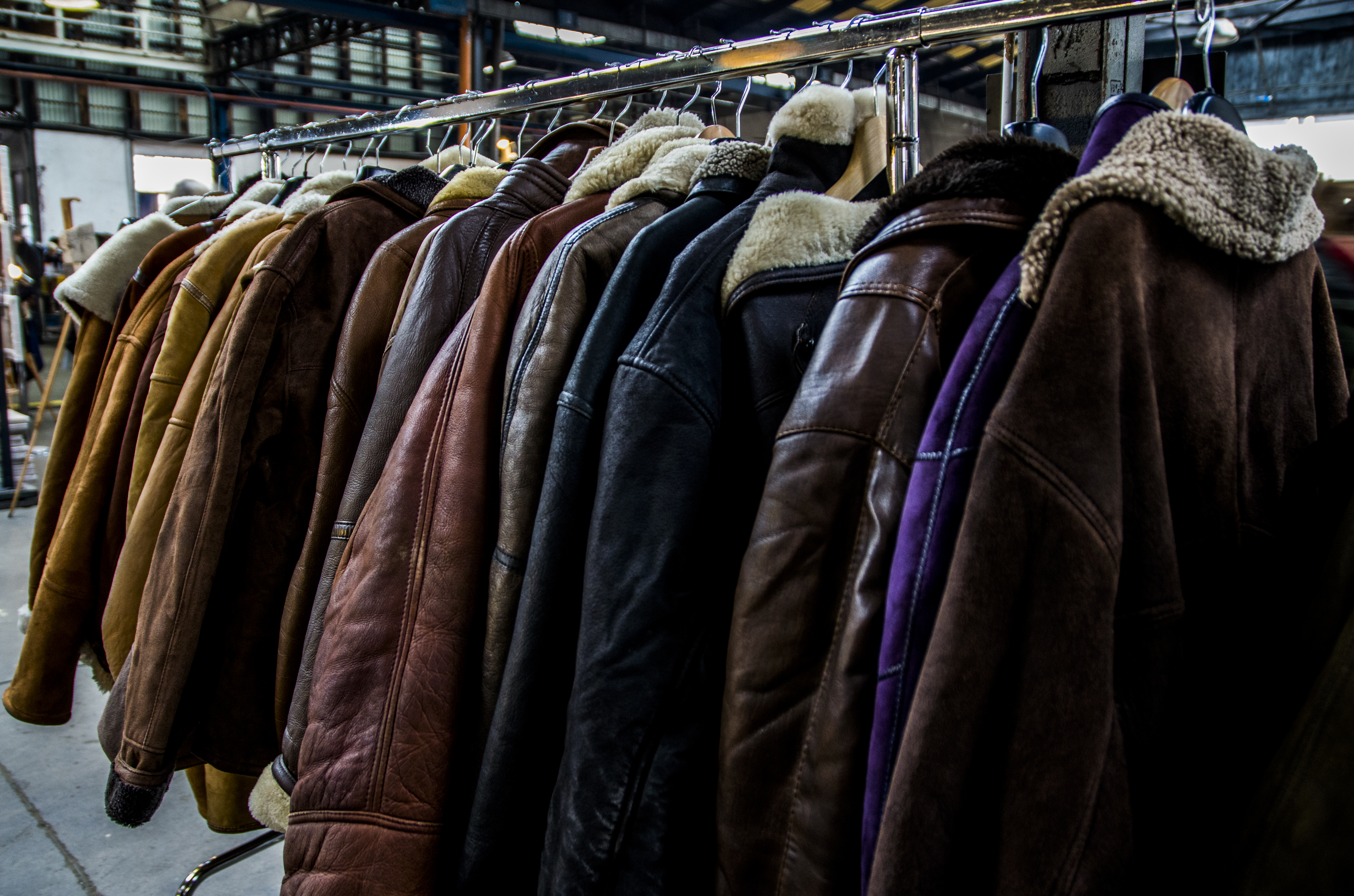 A rack of leather jackets in a consignment store in Milan, Italy.