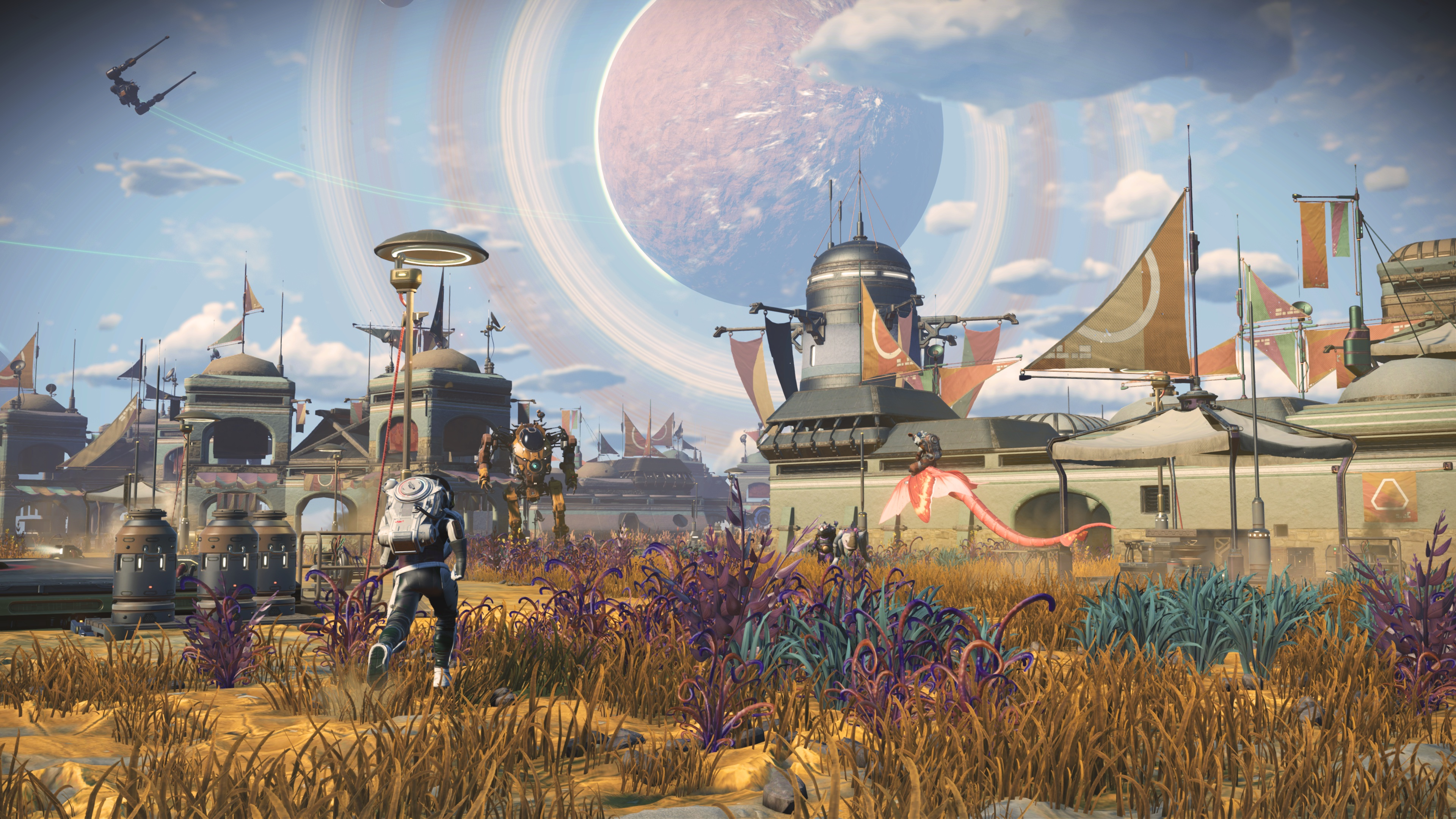 A settlement in No Man's Sky