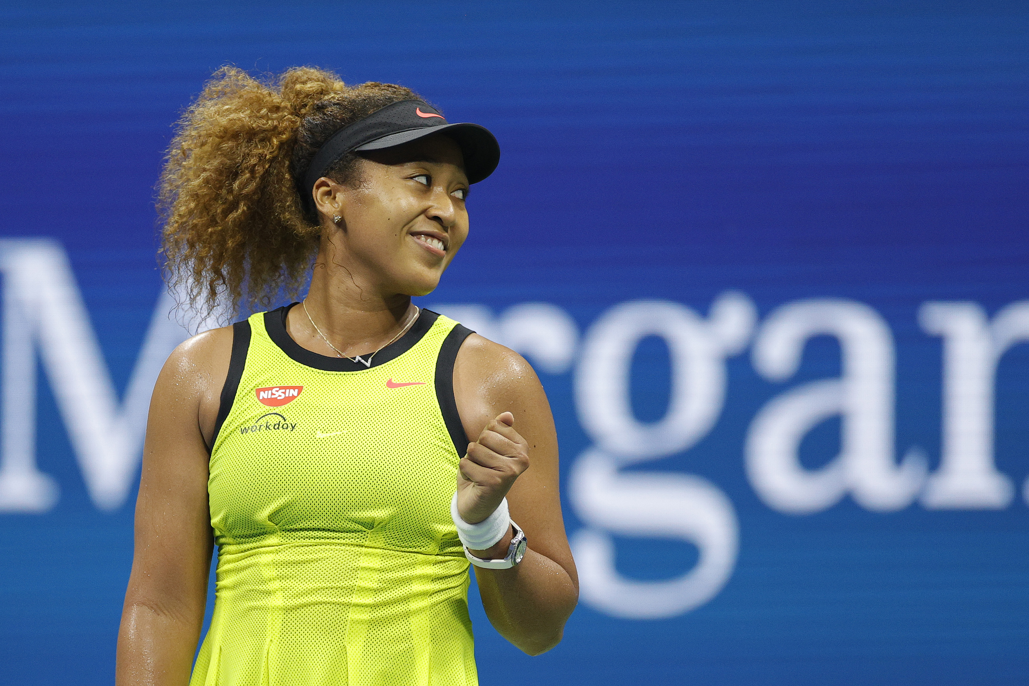 Naomi Osaka of Japan celebrates against Marie Bouzkova (not pictured) of the Czech Republic during their Women's Singles first round match on Day One of the 2021 US Open at the Billie Jean King National Tennis Center on August 30, 2021 in the Flushing neighborhood of the Queens borough of New York City.