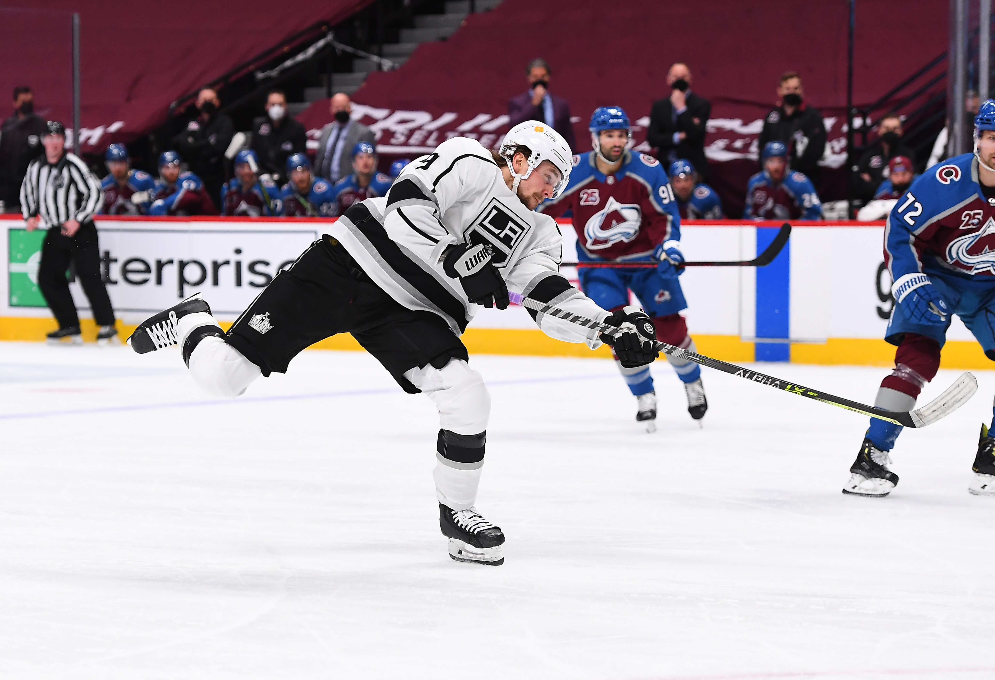 May 13, 2021; Denver, Colorado, USA; Los Angeles Kings right wing Adrian Kempe (9) takes a shot on net of the Colorado Avalanche during the third period at Ball Arena.