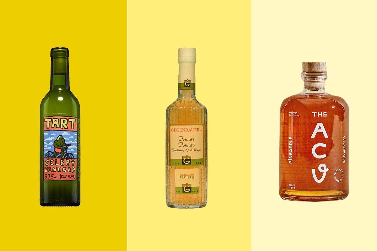 A bottle of Tart vinegar, a Whole Foods bottle of vinegar, and the ACV
