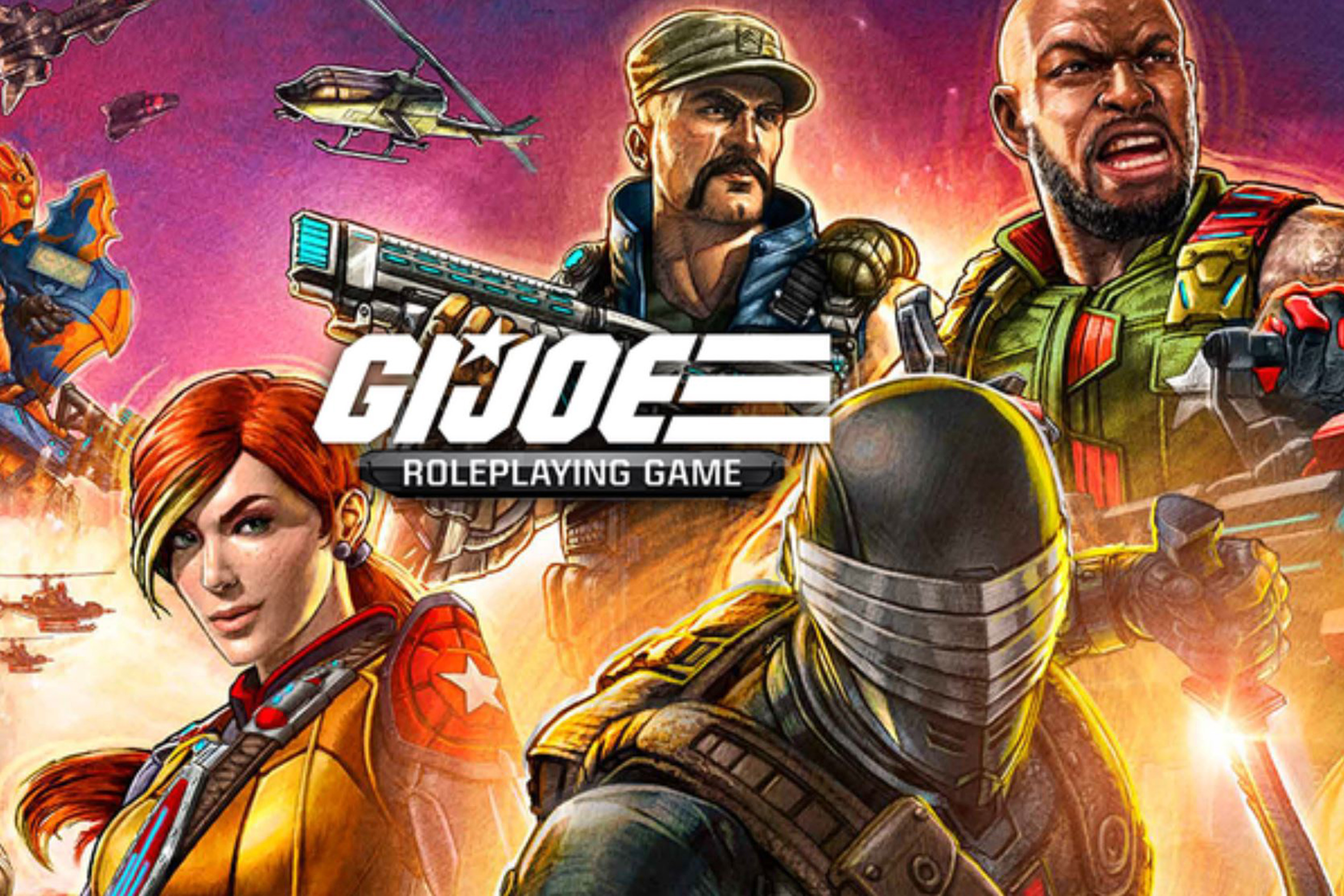 Art used for a game masters screen in G.I. Joe Roleplaying Game features iconic characters with a cartoonish art style.