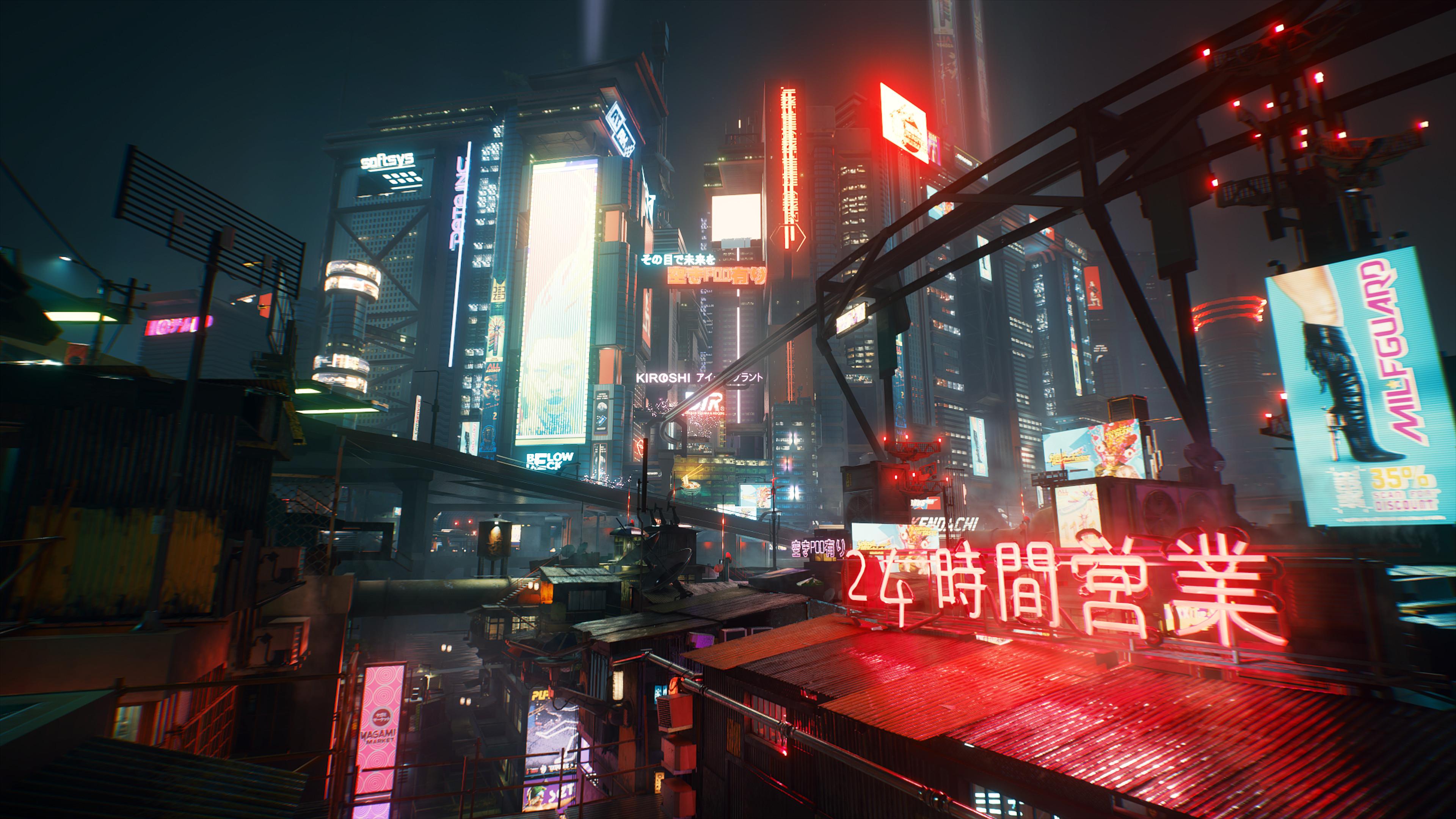 A Night City overhead view in Cyberpunk 2077