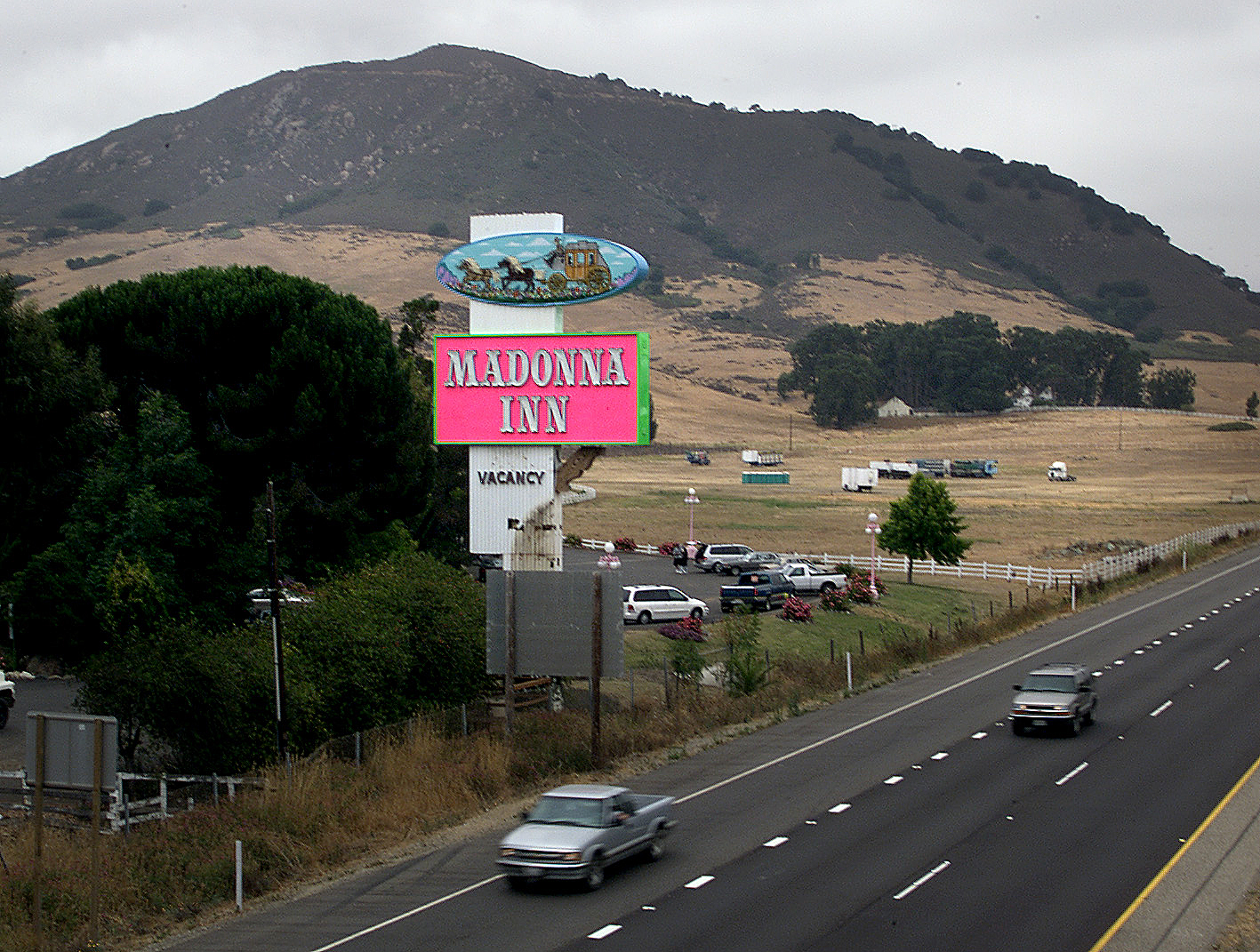 The Madonna Inn sign by the 101 freeway in San Luis Obispo.