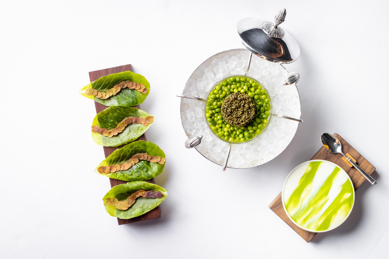 Tonburi caviar sits next to lettuce wraps and vegan creme fraiche