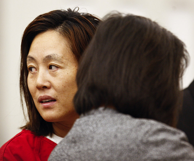 Sun Cha Warhola appears in 2nd District Court in Farmington on Monday, Oct. 18, 2010.