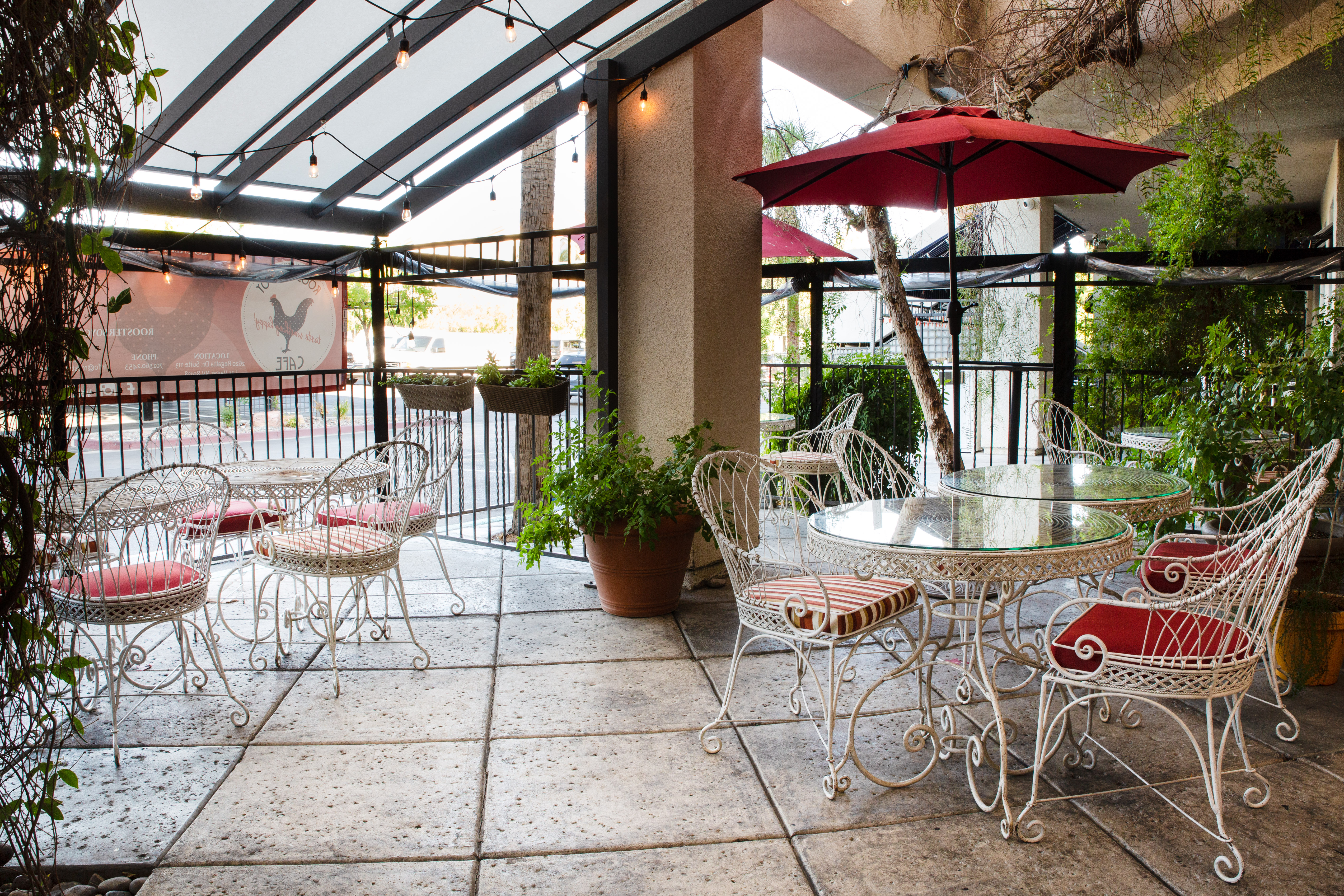 The patio at Rooster Boy Cafe