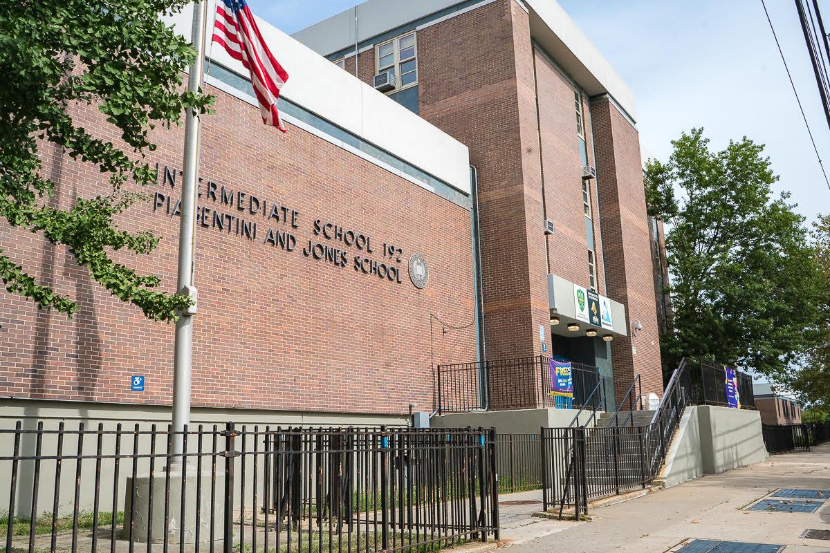 The facade of the Intermediate School 192 Piagentini and Jones School in New York City.