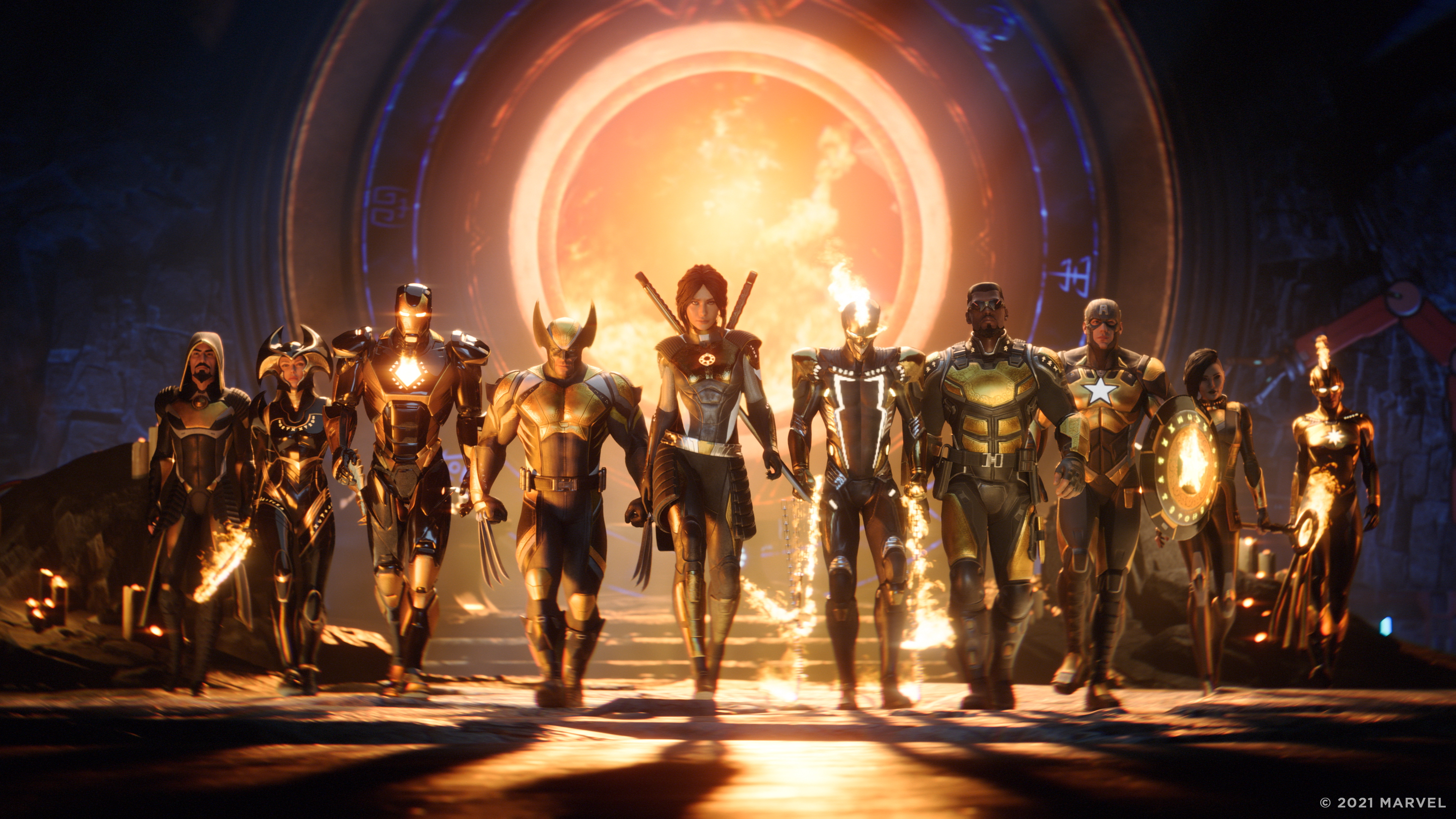 The Hunter, flanked by Wolvering, Iron Man, Blade and others, strides into the frame. Behind them, what looks like a kind of stargate.