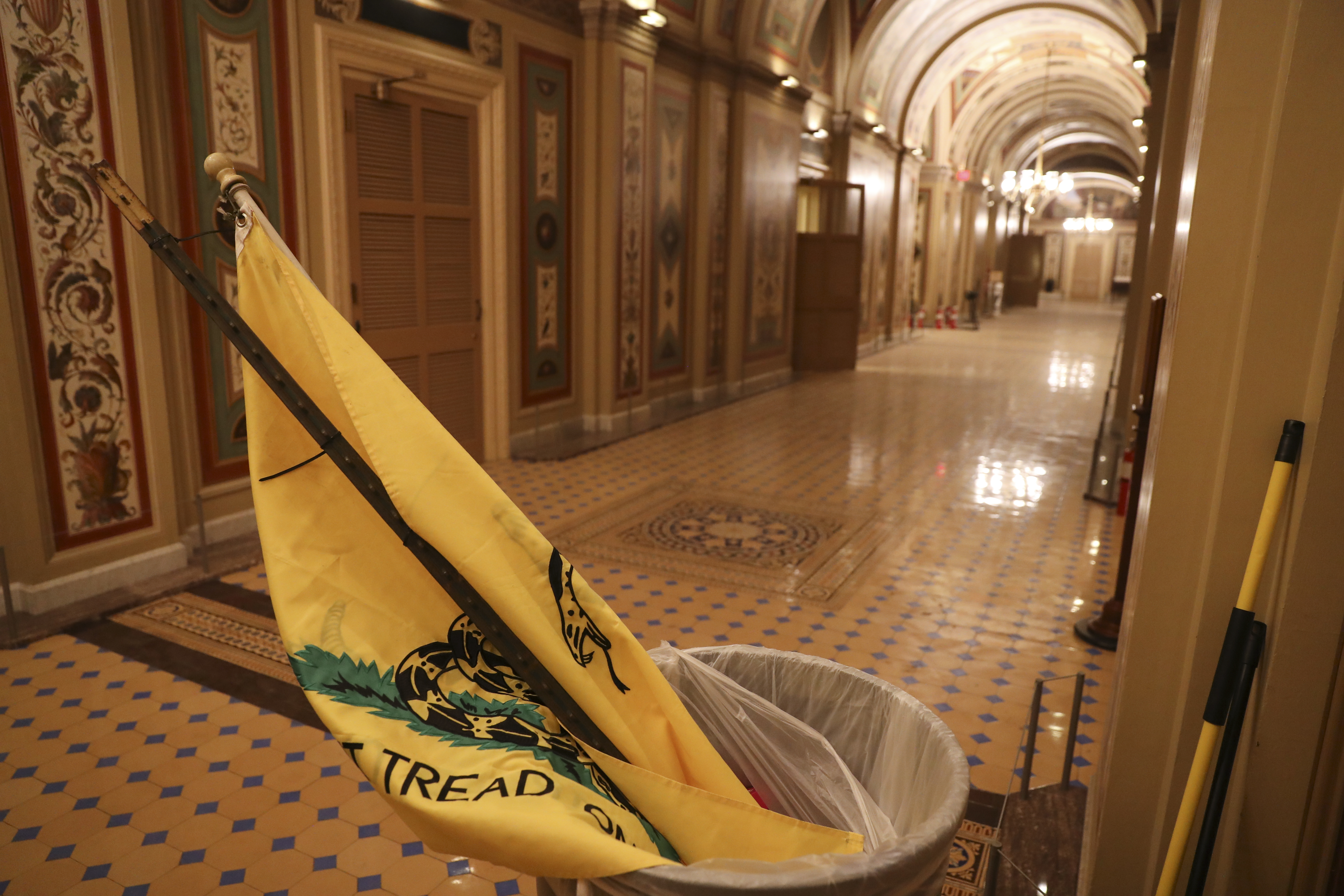 A Gadsden Flag flag left by Pro-Trump protesters who entered the U.S. Capitol building is seen after mass demonstrations in the nations capital during a joint session Congress to ratify President-elect Joe Biden on January 06, 2021 in Washington, DC.