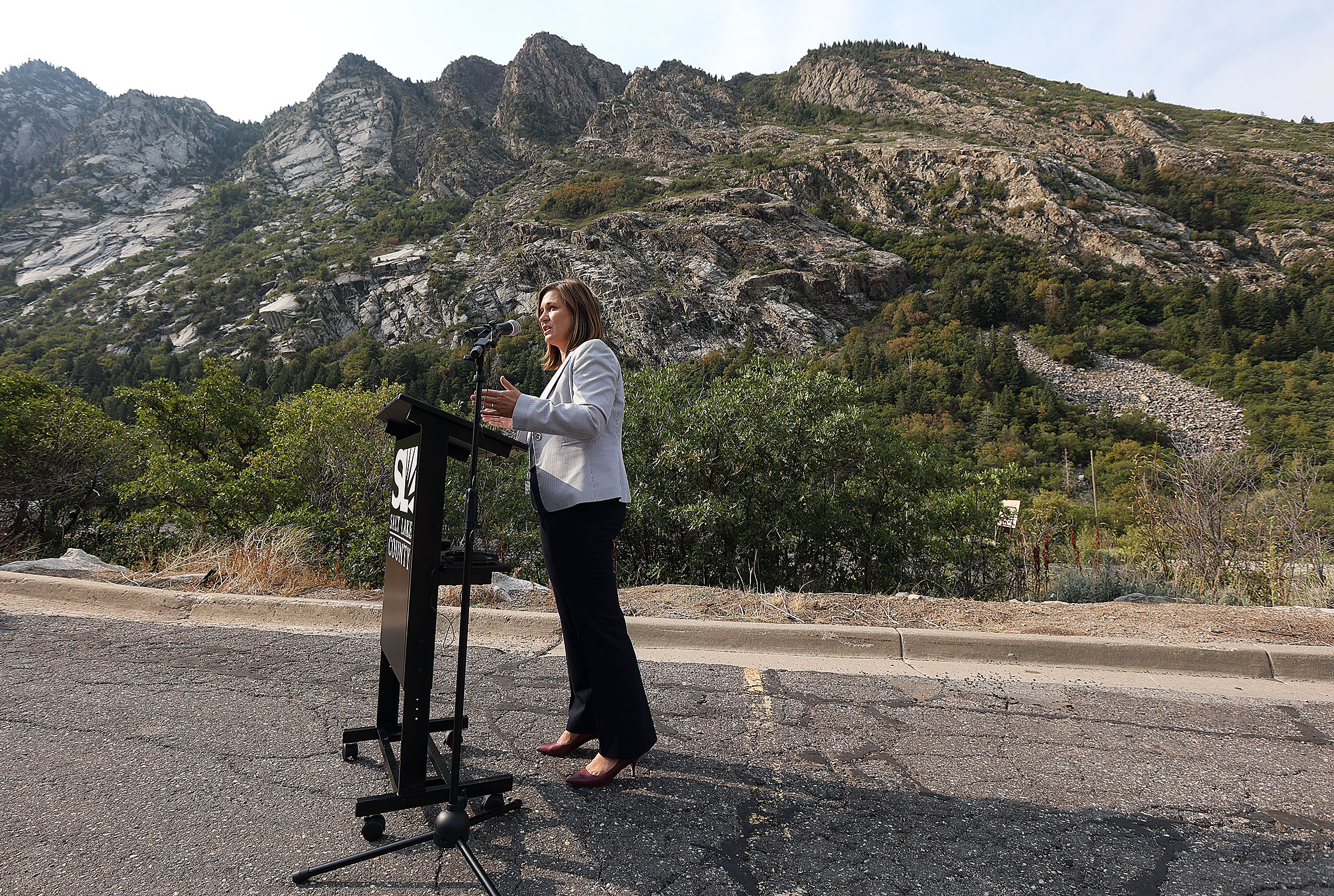 Salt Lake County Mayor Jenny Wilsonvoices her opposition to a Utah Department of Transportation proposal to reduce traffic in Little Cottonwood Canyon by building a gondola during press conference at the mouth of the canyon in Sandy on Wednesday, Sept. 1, 2021.