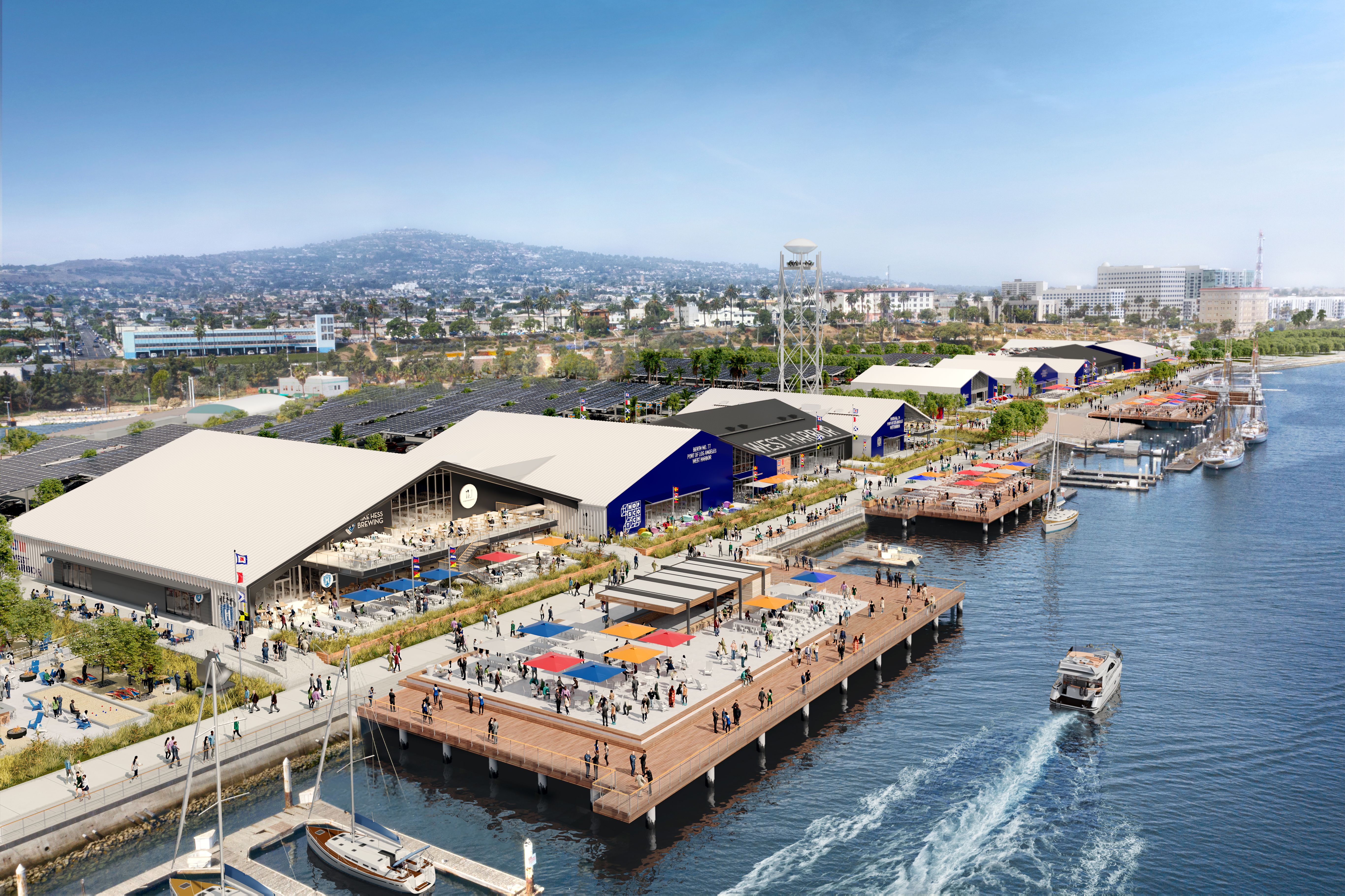 A rendering of a colorful waterside development with boats coming and going and people in the shade.