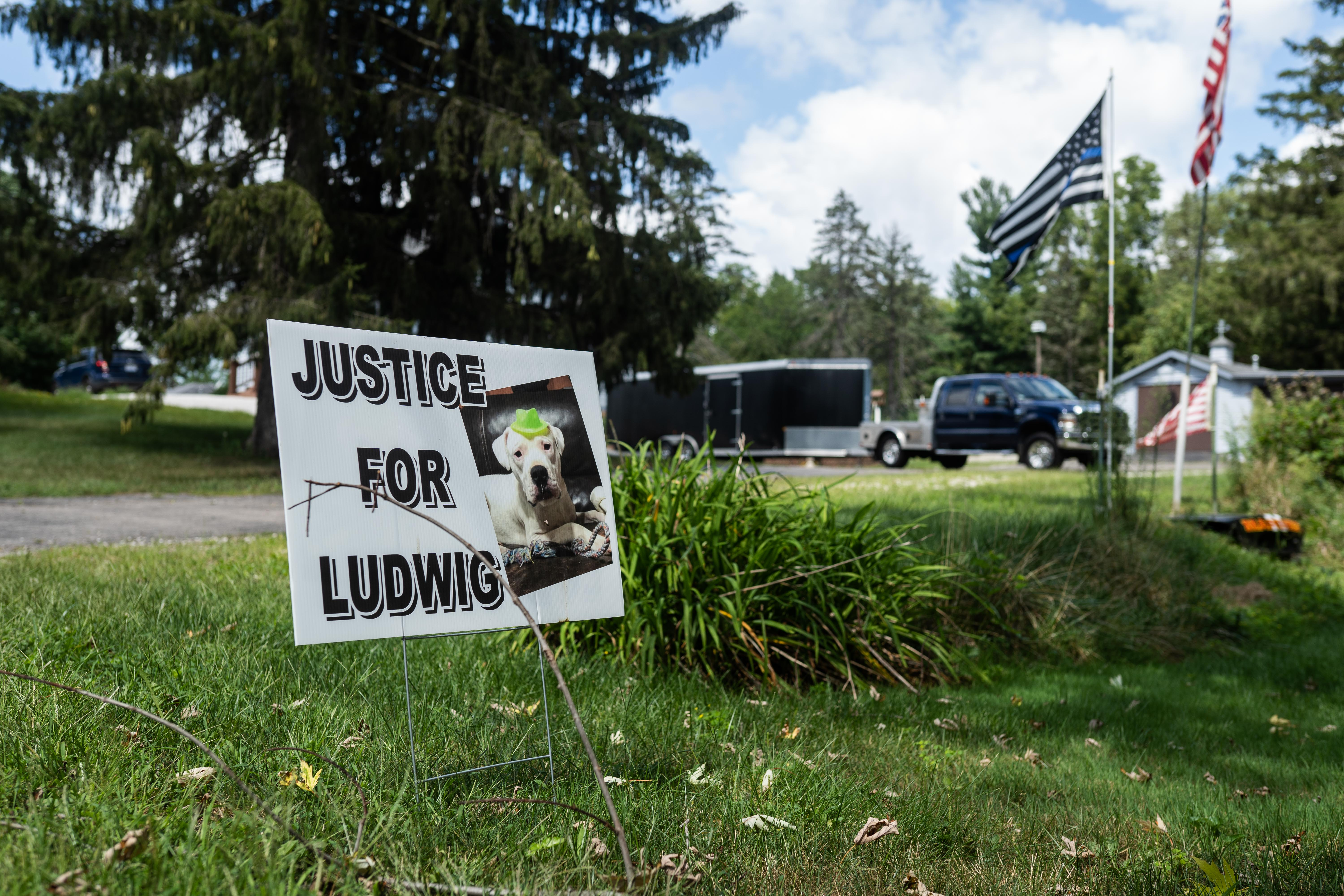 """A sign that reads, """"Justice for Ludwig"""" is displayed along Pearson Drive in Wayne, Ill., Wednesday morning, Sept. 1, 2021. Ludwig was shot by Hal Phipps, the husband of the village president of Wayne, Illinois."""