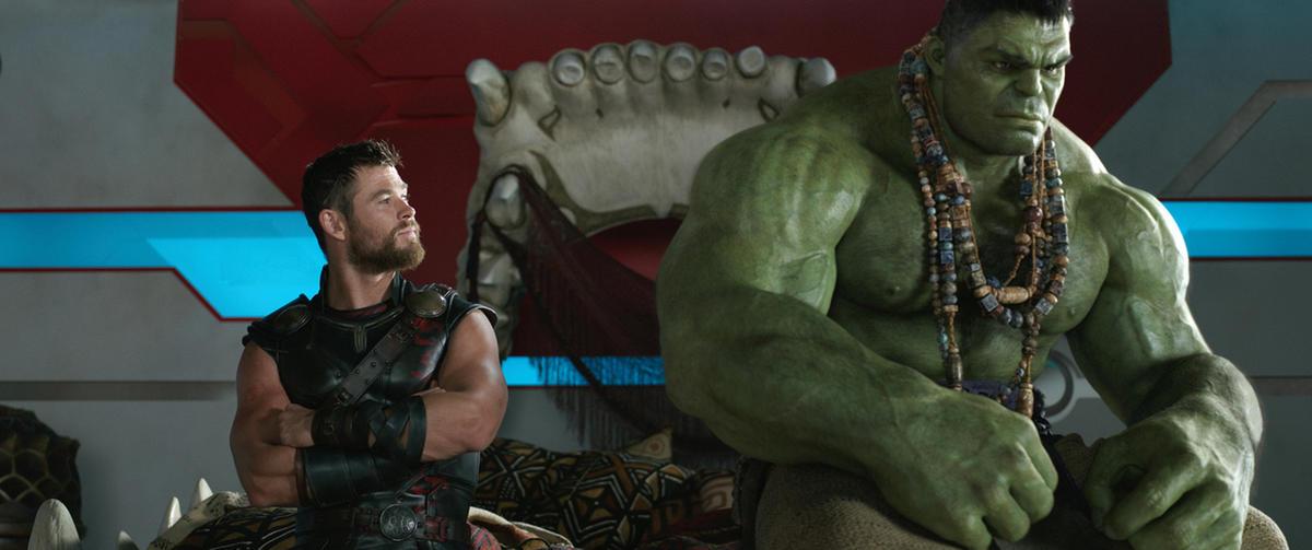 "Chris Hemsworth and the Hulk in ""Thor: Ragnarok."""