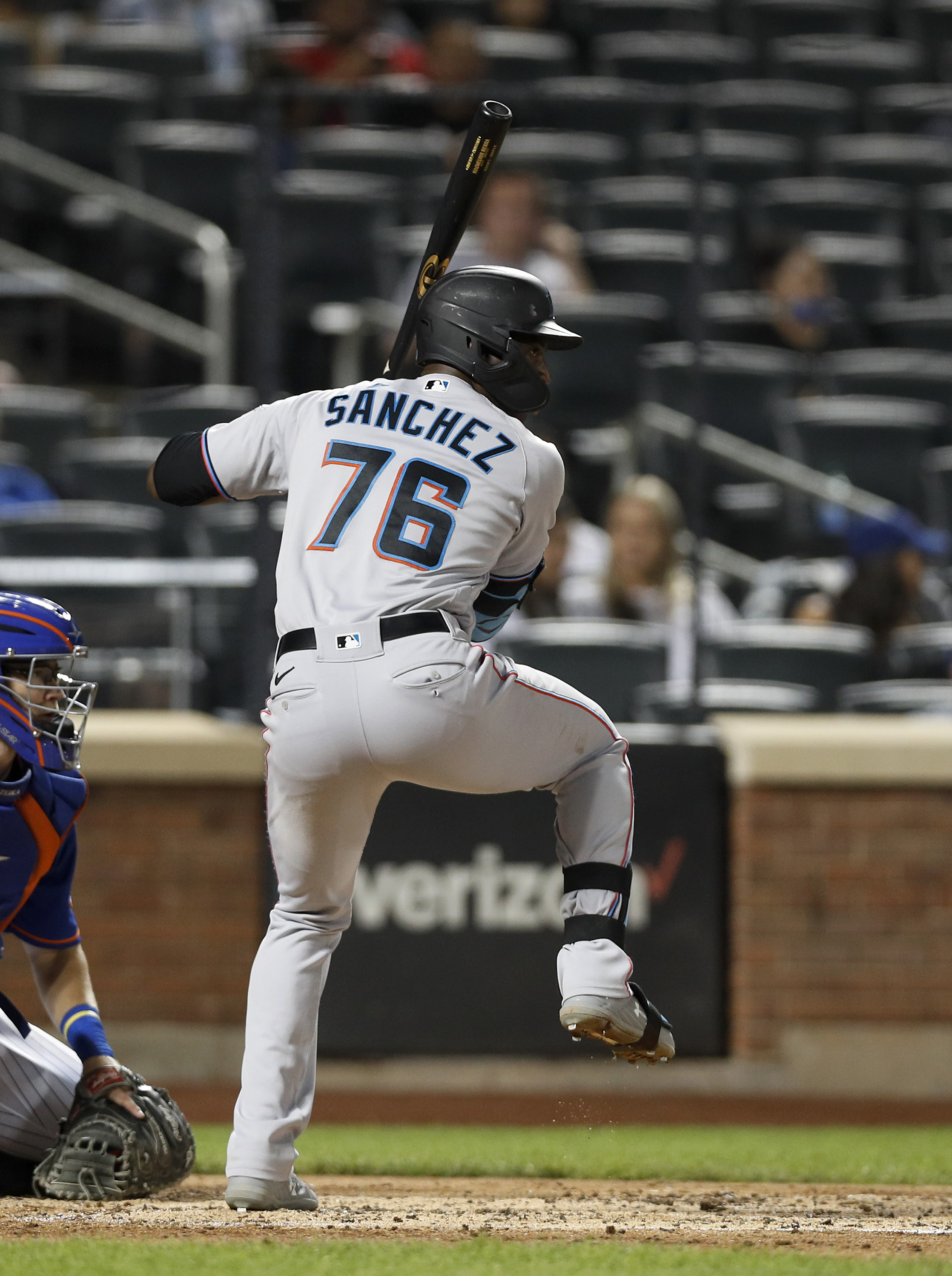 Jesus Sanchez #76 of the Miami Marlins in action against the New York Mets at Citi Field on August 31, 2021