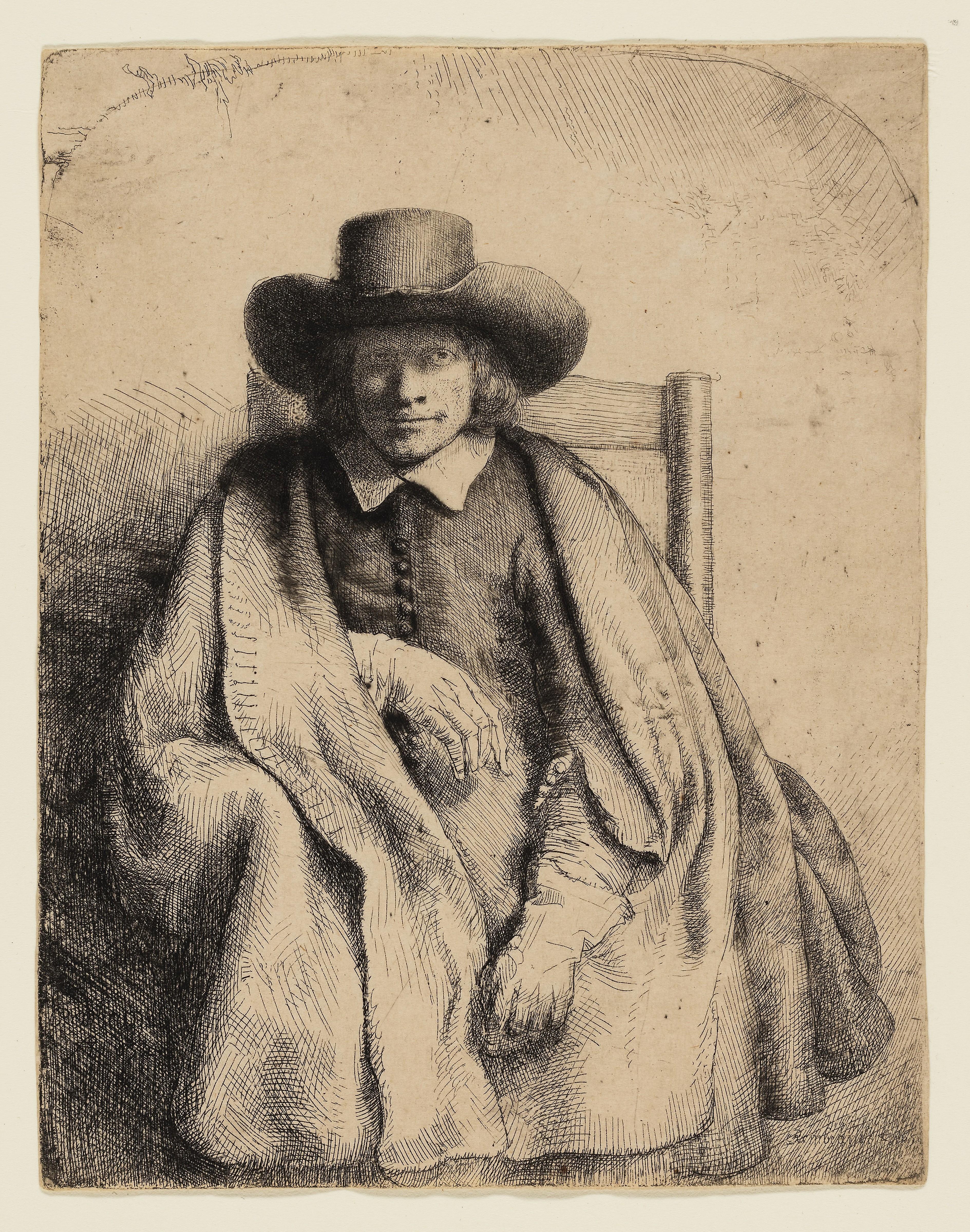 Clement de Jonghe. Printseller. 1651. Rembrandt van Rijn. Dutch. 1606-1669. Holland. Etching on buff laid paper. 208 x 162 mm (image. sheet trimmed within plate)