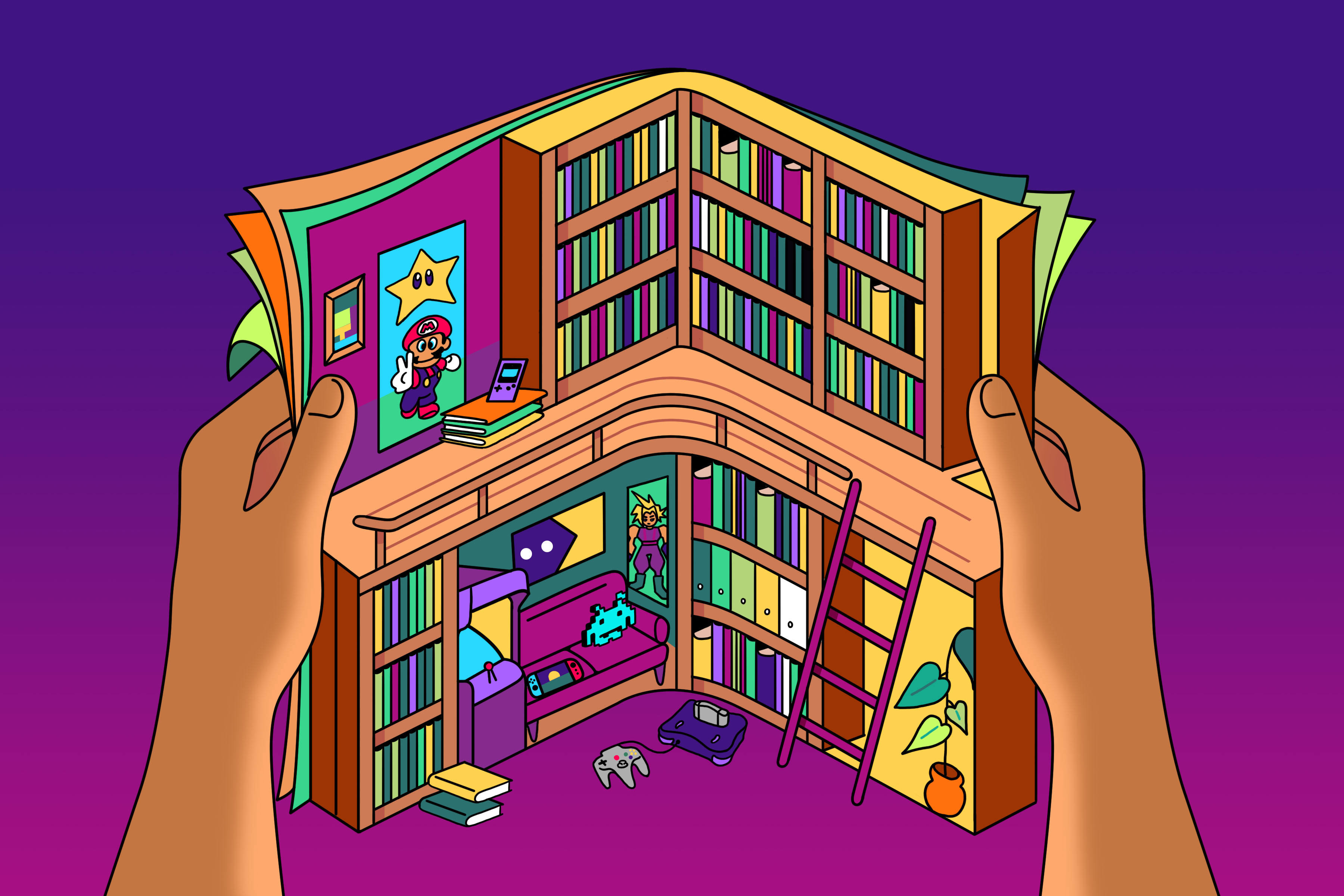 Illustration of two hands holding an open magazine with a library inside