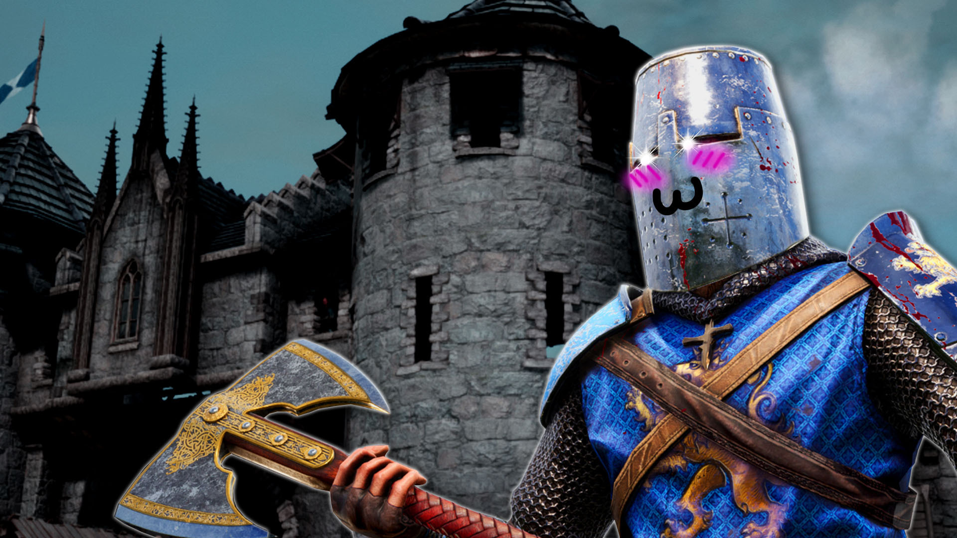 An axe-weilding knight looms over you. He wears a tall bucket-style helmet, over which is superimposed rosey cheeks, glimmering eyes, and a cutesey feline smile.