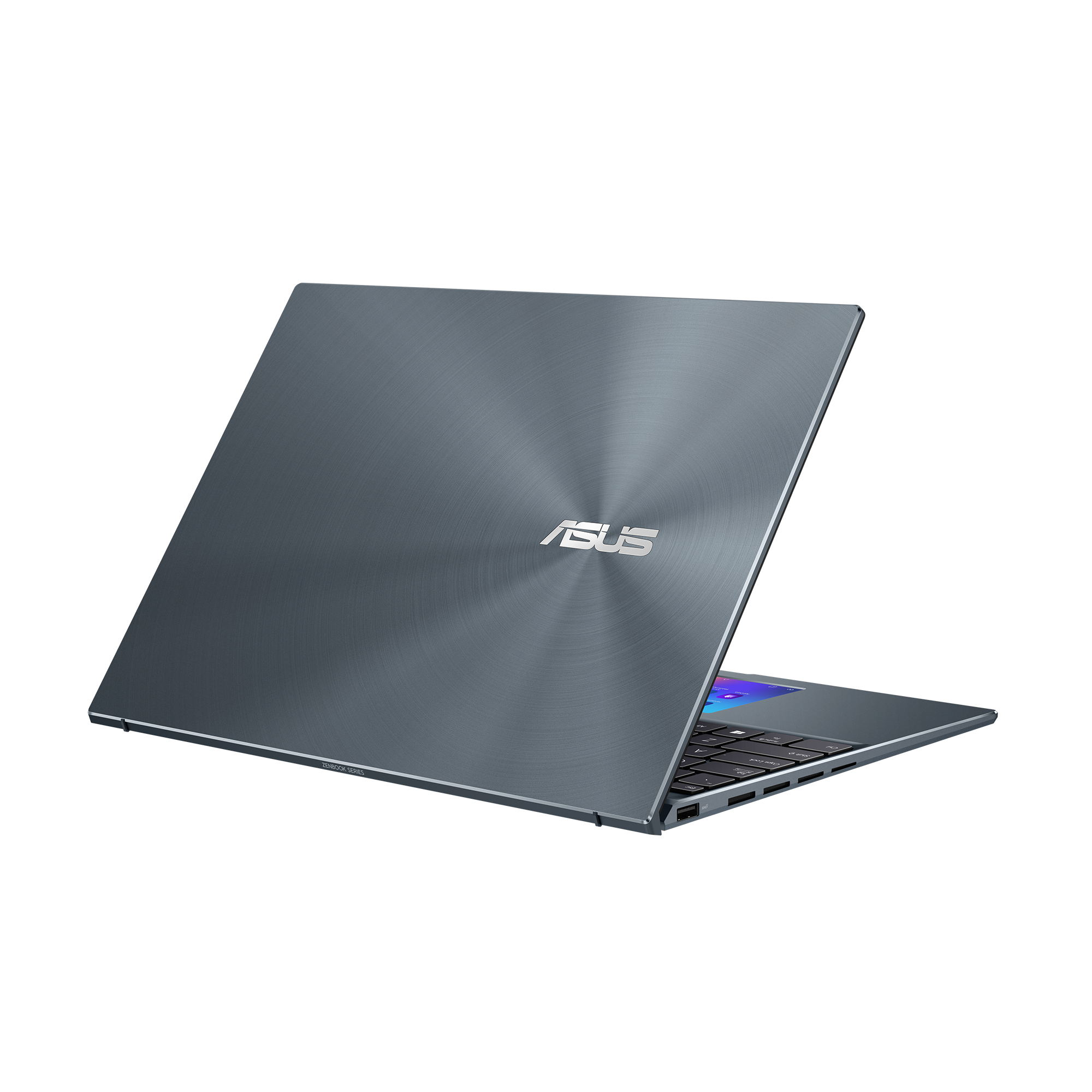 The Asus Zenbook 14X facing away from the camera, angled to the right, half open, on a white background.