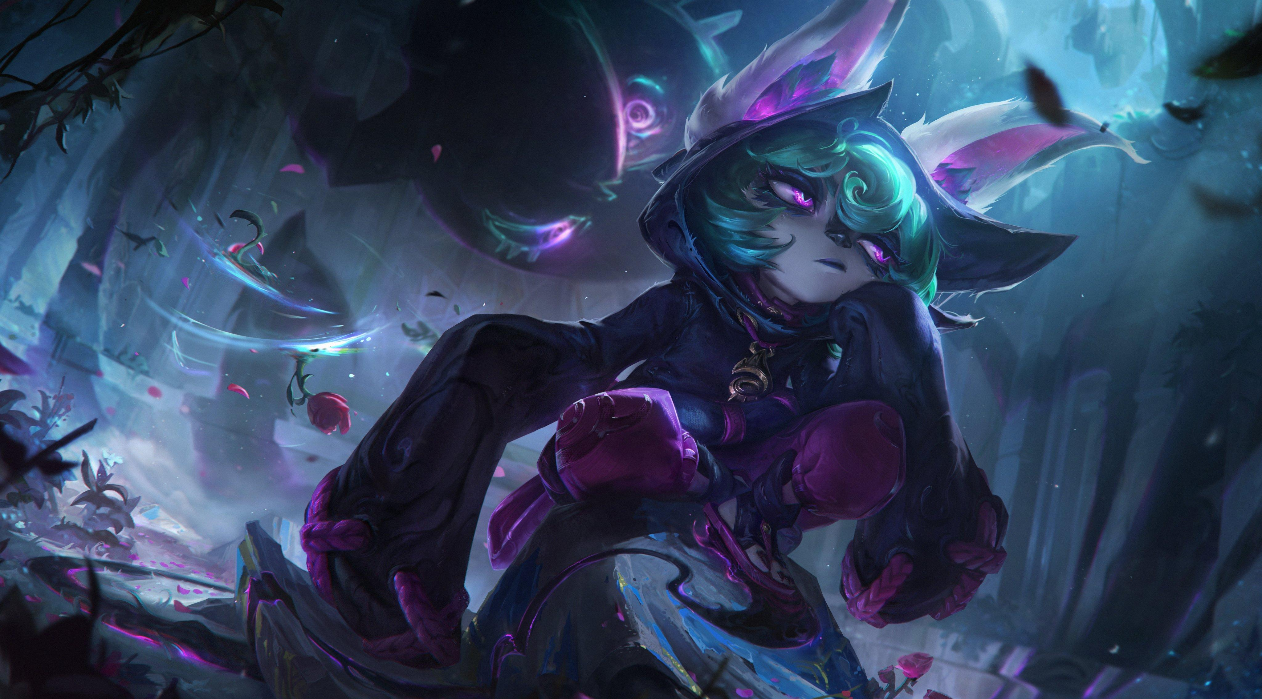 League of Legends - Vex, a small rabbit Yordle, lounges and sulks while surrounded by a torrent of magical energy
