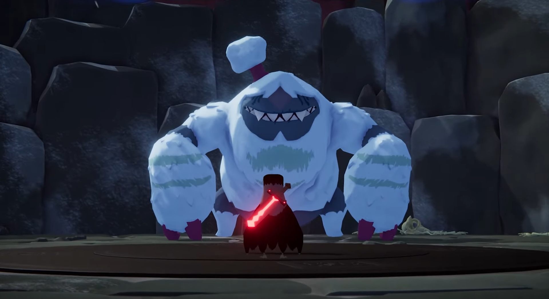 Betty, a yeti, grins looking down at a tiny crow with a sword